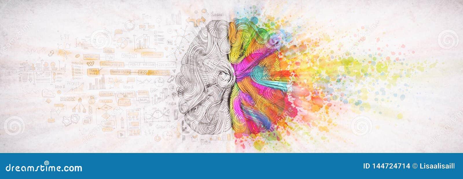 Левая концепция человеческого мозга, текстурированная иллюстрация Творческая левая и правая часть человеческого мозга, emotial и