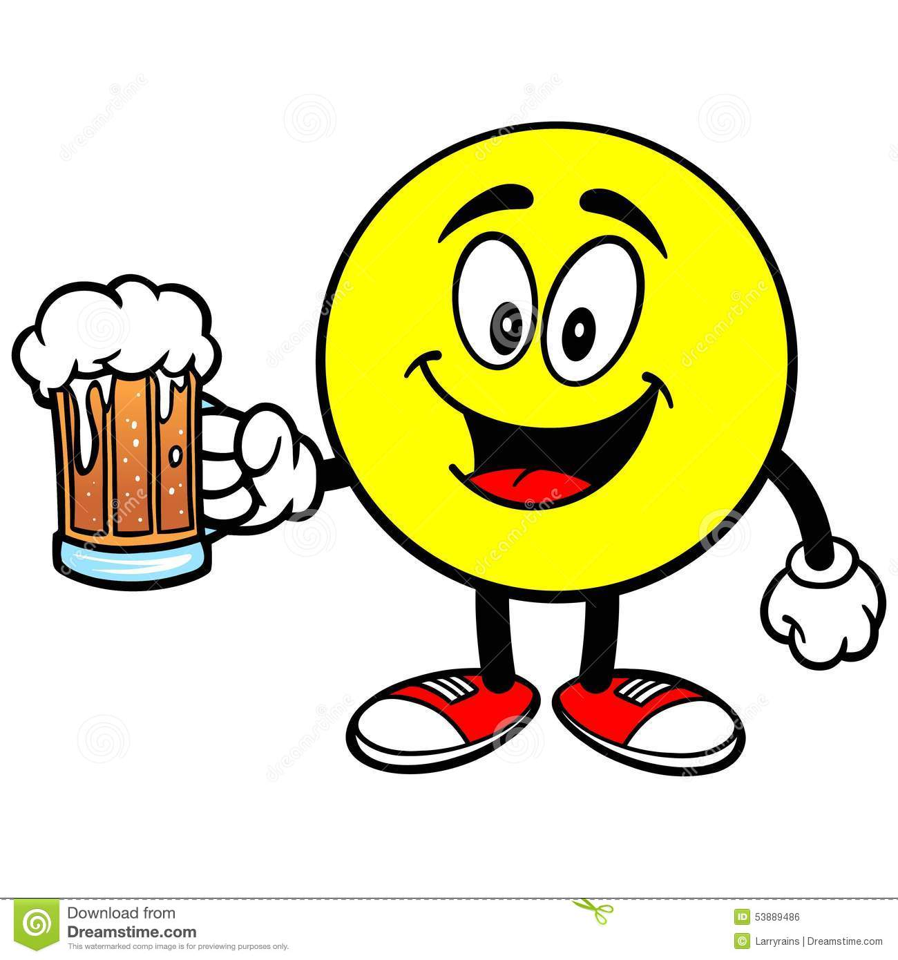 Emoticon with Beer stock vector  Illustration of happiness