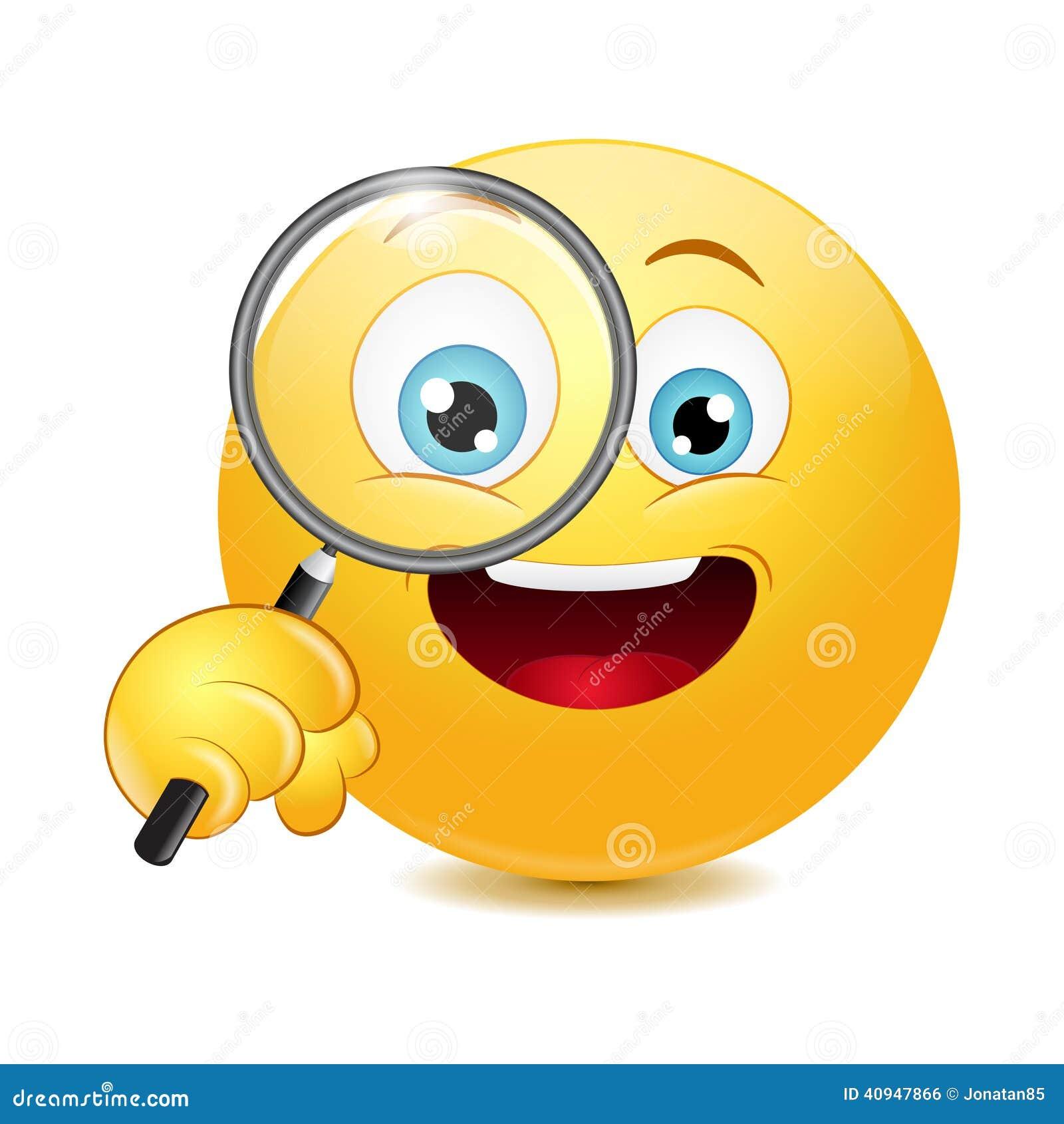Emoticon che tiene una lente d 39 ingrandimento illustrazione - Image smiley gratuit ...