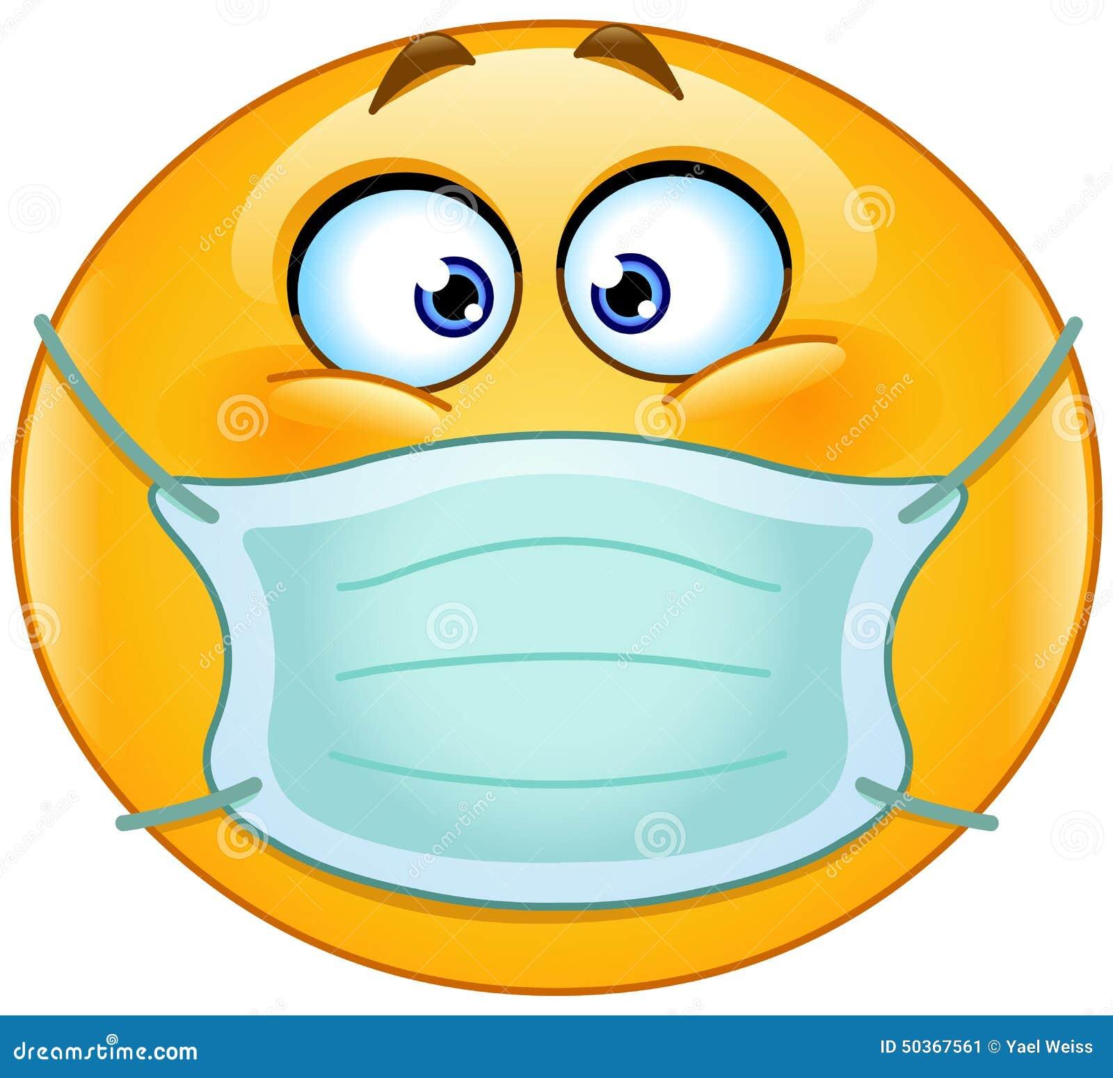 Emoticon con la máscara médica