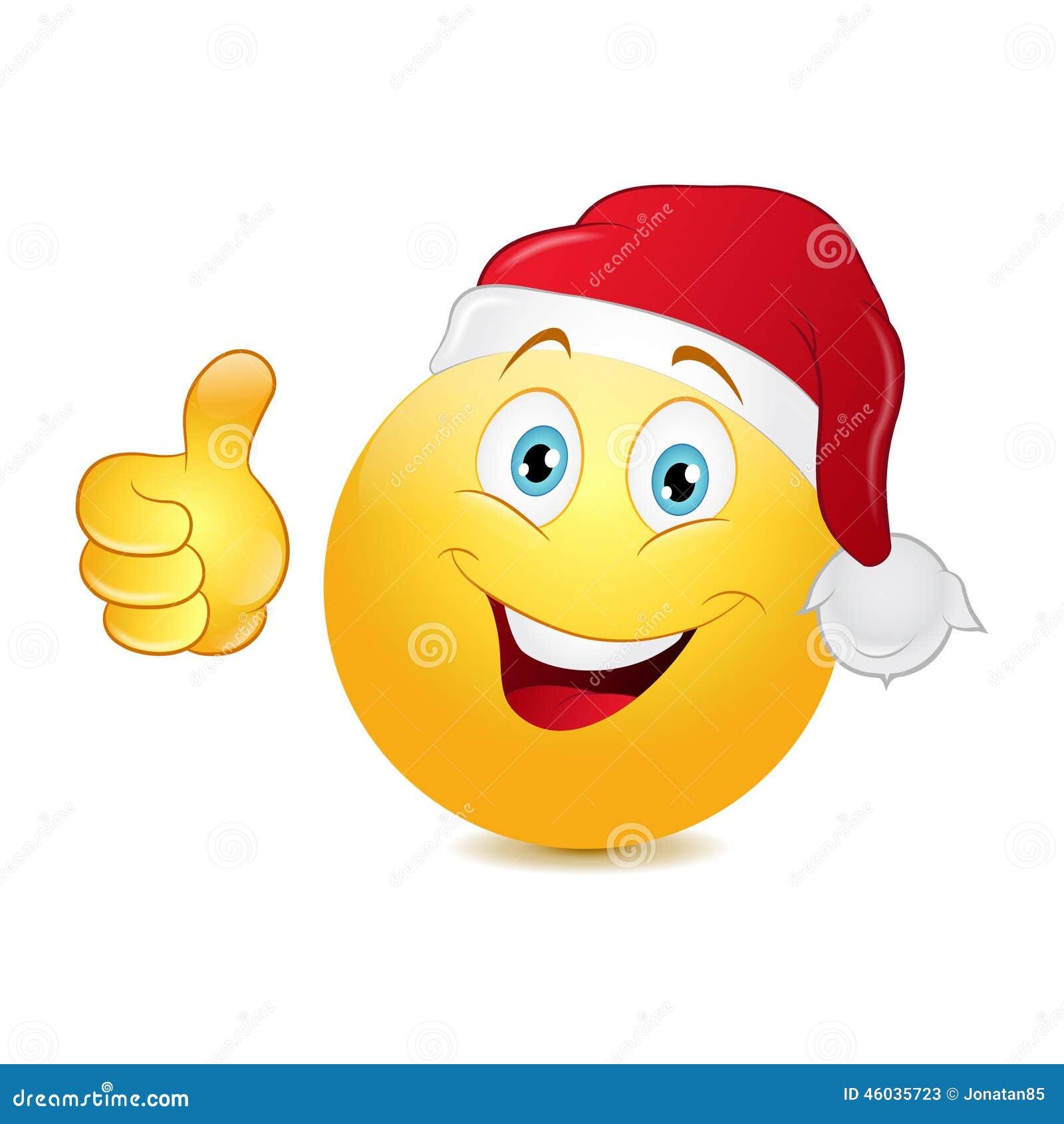 Emoticon de la Navidad con el pulgar para arriba