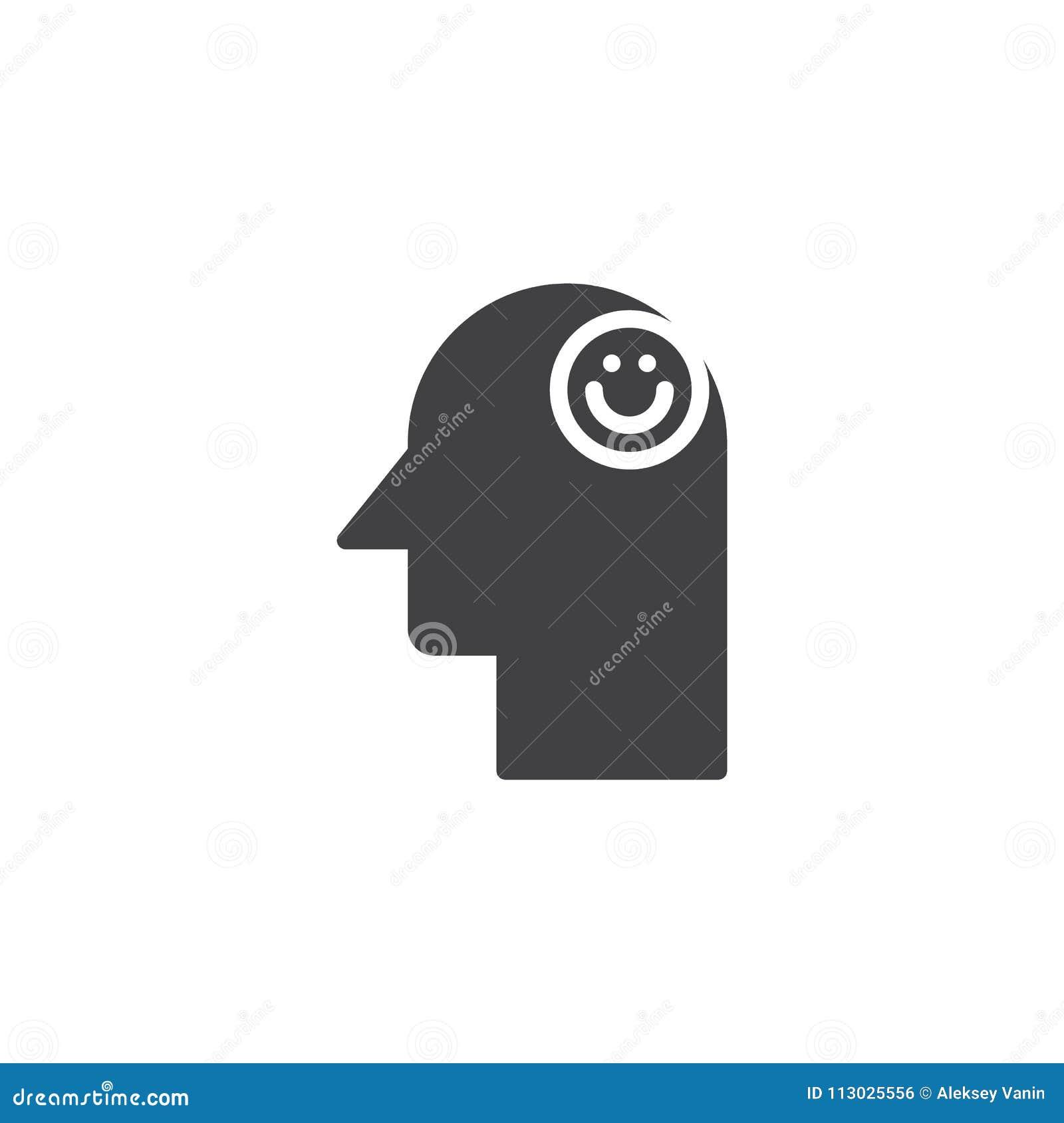 Emoticon de la sonrisa en icono del vector de la cabeza humana