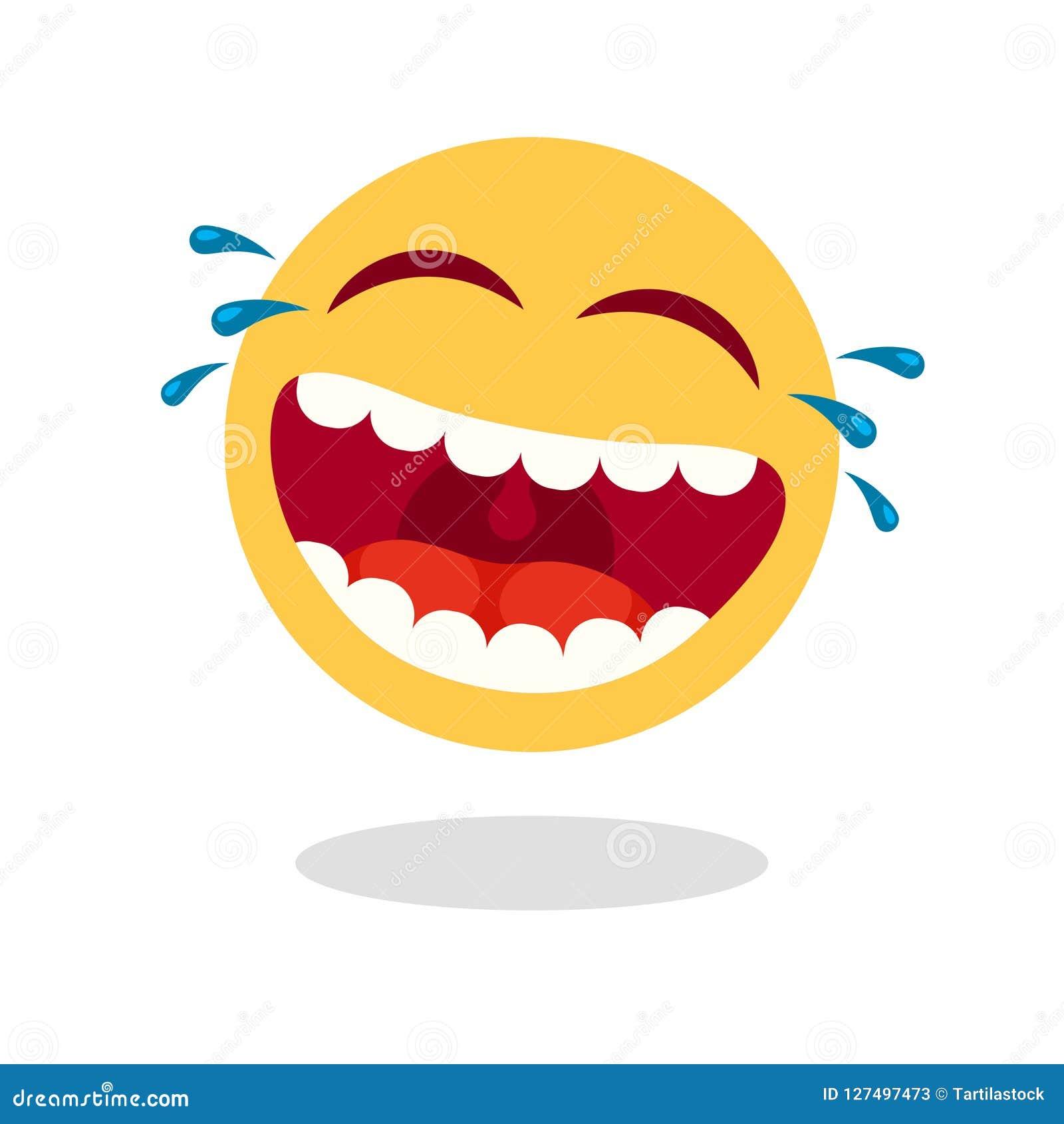 Emoticon de riso do smiley Cara feliz dos desenhos animados com boca e os rasgos de riso Ícone alto do vetor do riso