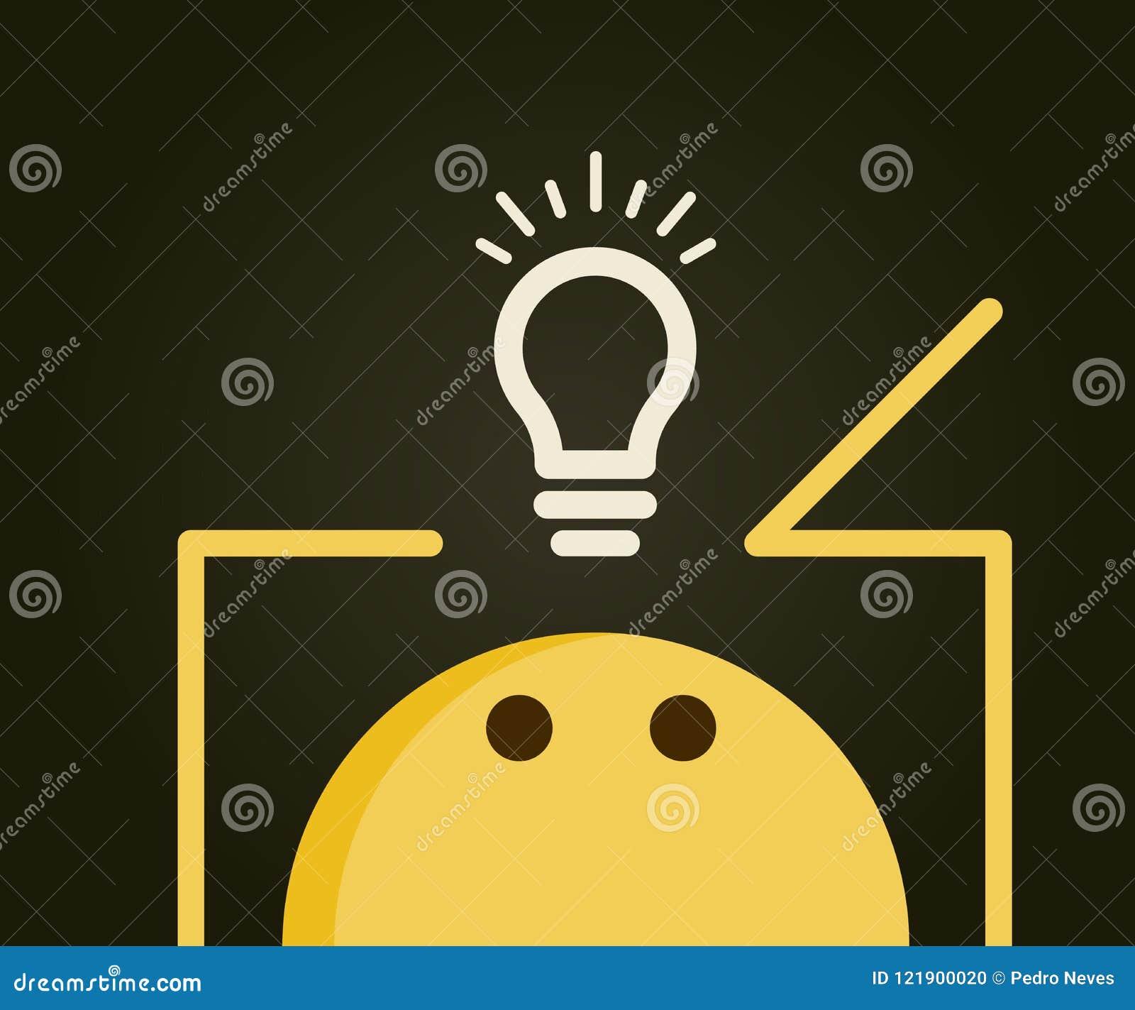 Emoticon, der außerhalb des Kastens denkt Glühlampe außerhalb des Kastens, der neue innovative Ideen und Lösungen darstellt
