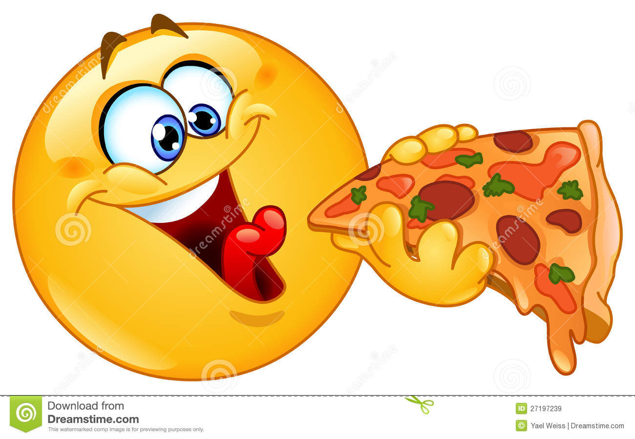 Emoticon die pizza eet