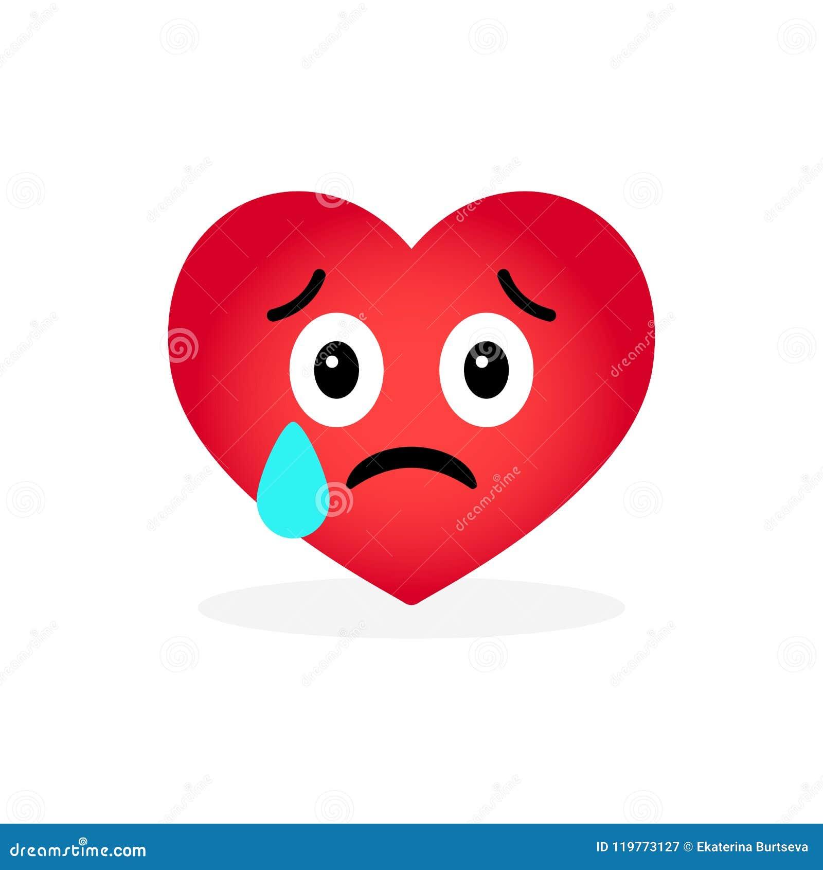 Emoticon Do Coração Dos Desenhos Animados Isolado No Fundo