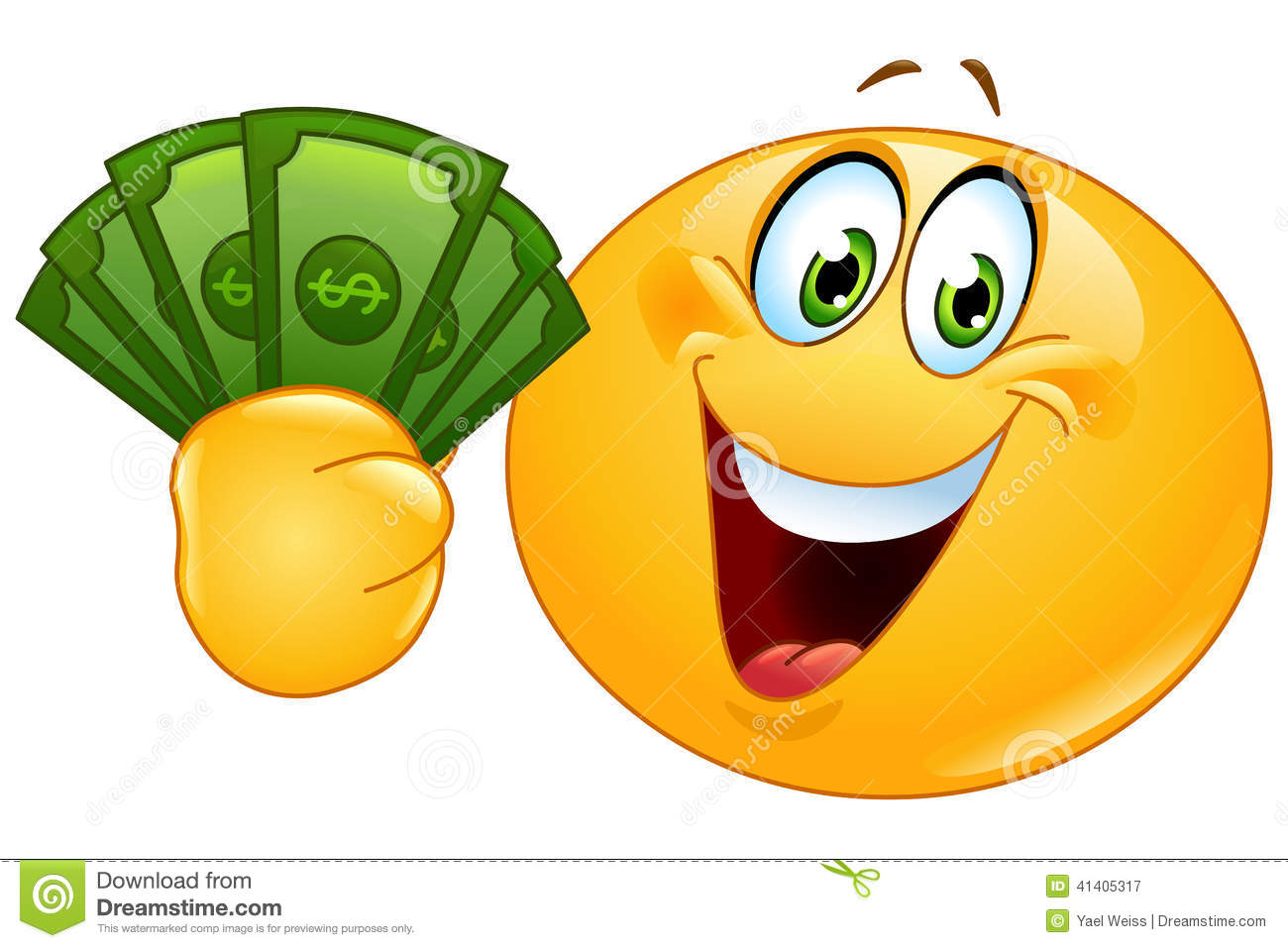 Clipart of a Yellow Smiley Emoji Holding Money Bags ... |Smiley Face Holding Money