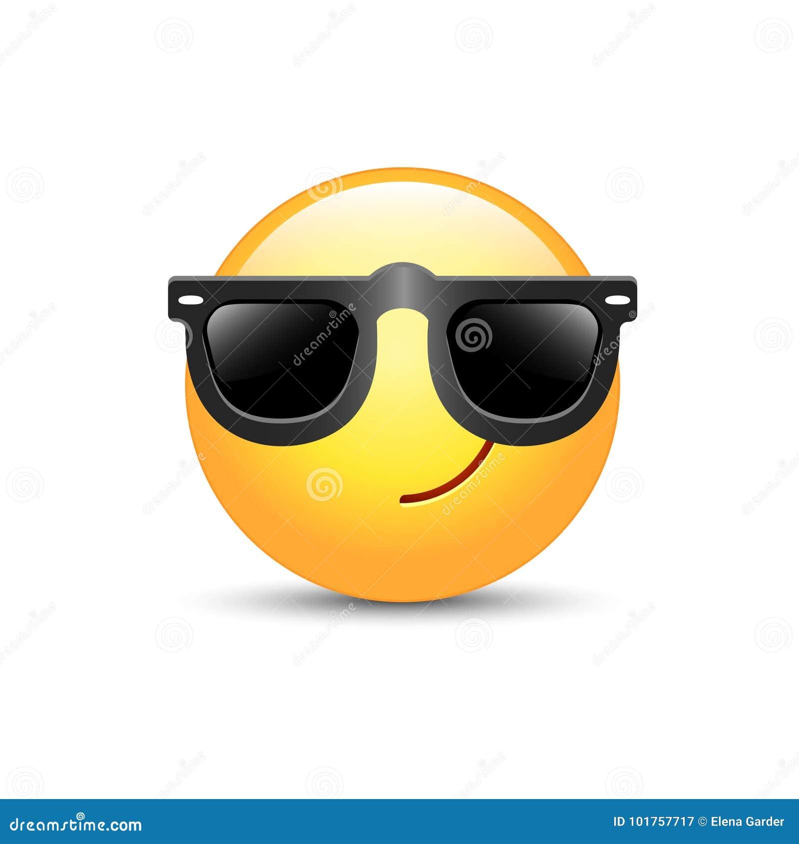 Emoticon dos desenhos animados que veste óculos de sol pretos Emoji bonito feliz do vetor