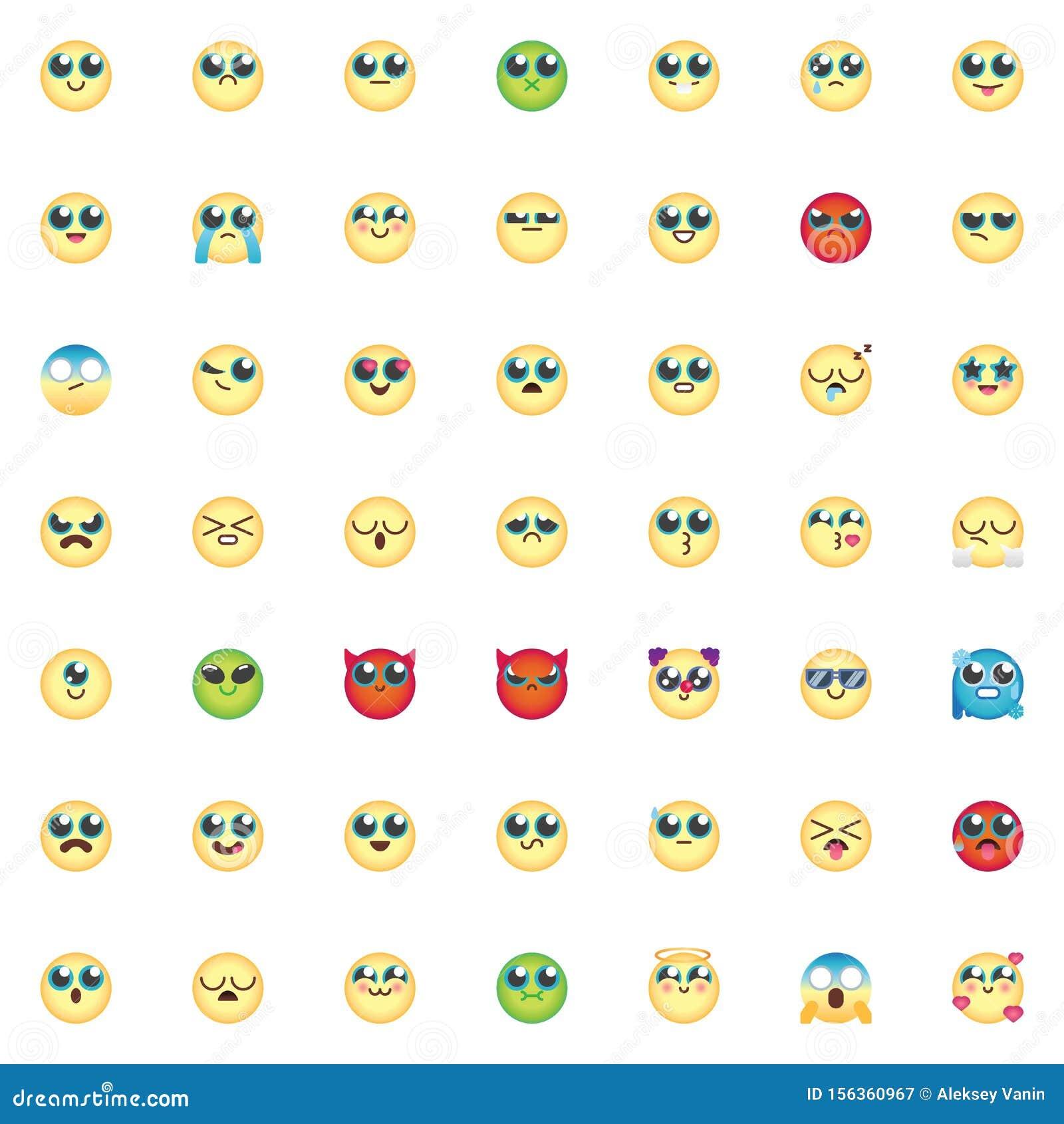 Emoticon elements collection, Comic Emoji smiley flat icons set