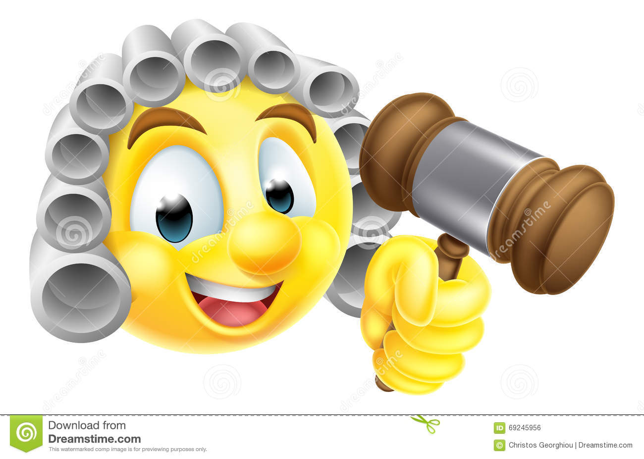 ... emoji judge character in white wig holding wooden gavel hammer