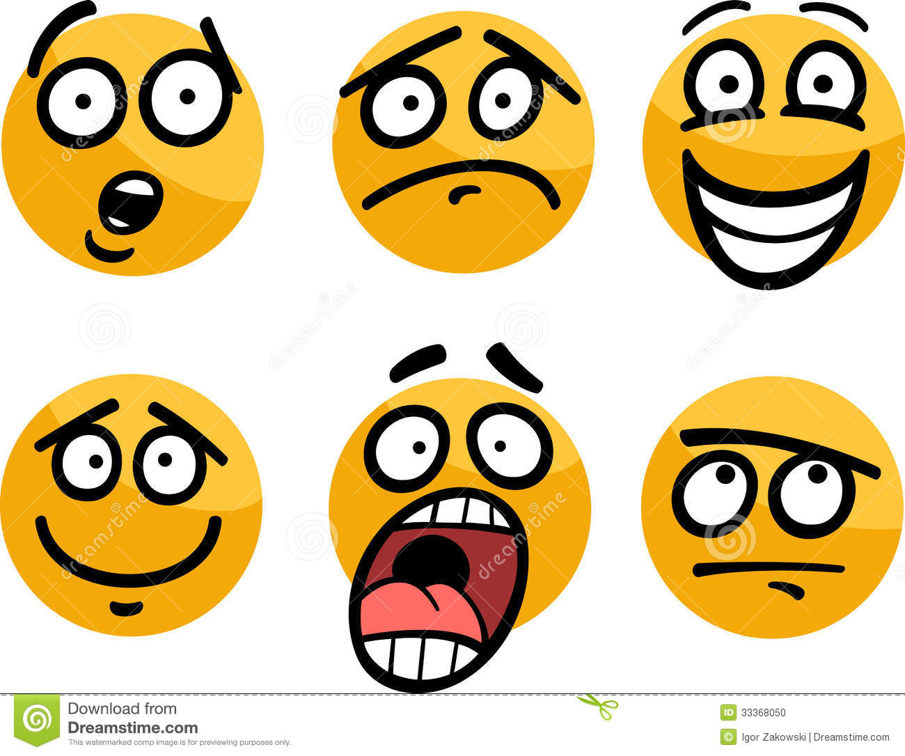 Emoticon Or Emotions Set Cartoon Illustration Stock Photo ...
