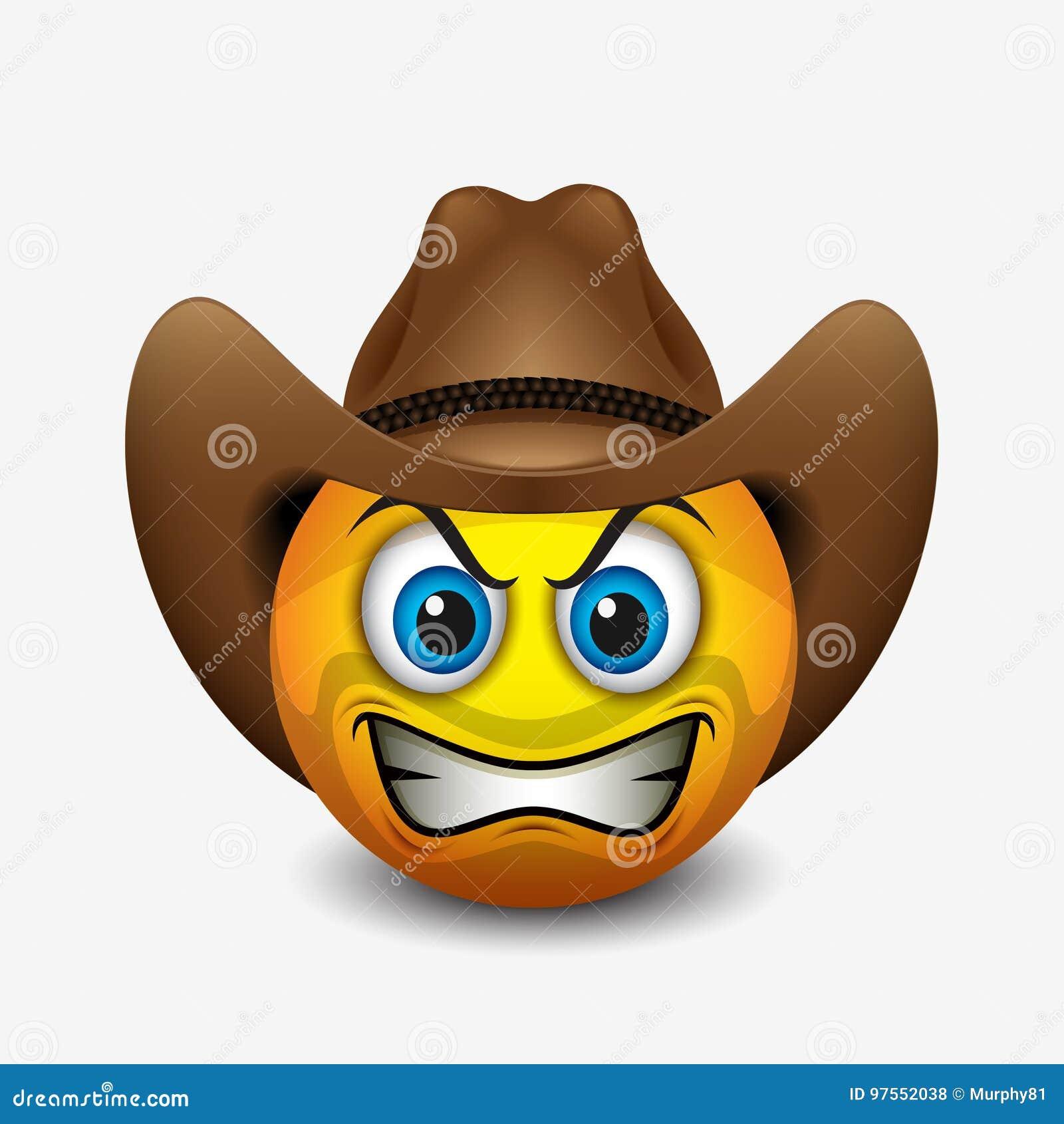 Emoticon enojado lindo del vaquero, emoji - vector el ejemplo