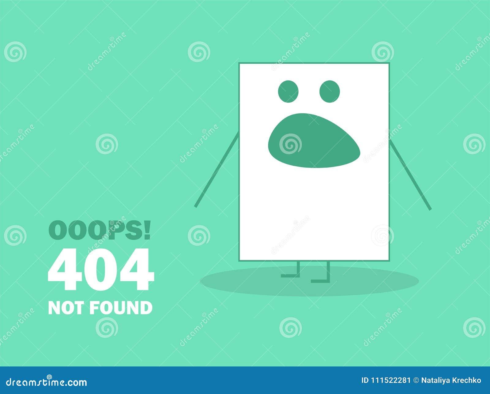 Emoticon för sida för 404 fel funnen inte - vektorillustration