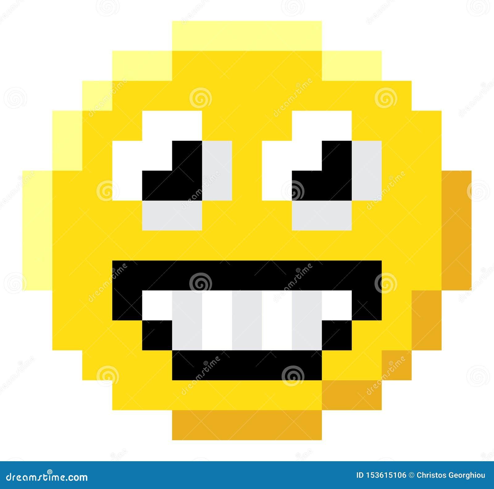 Emoticon Face Pixel Art 8 Bit Video Game Icon Stock Vector