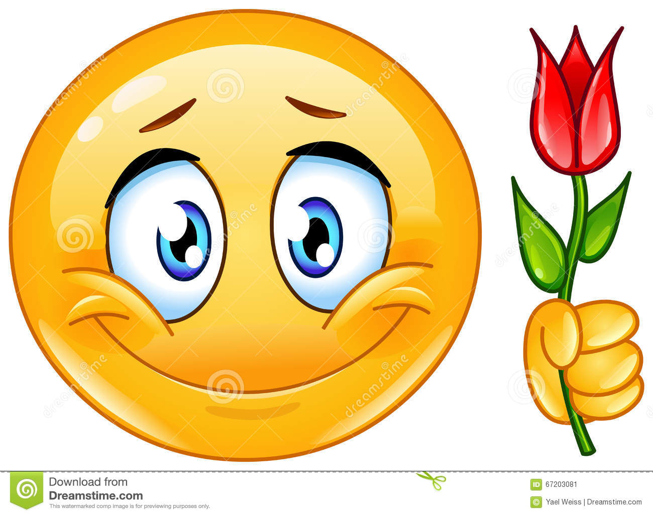 Emoticon With Flower Stock Vector Image