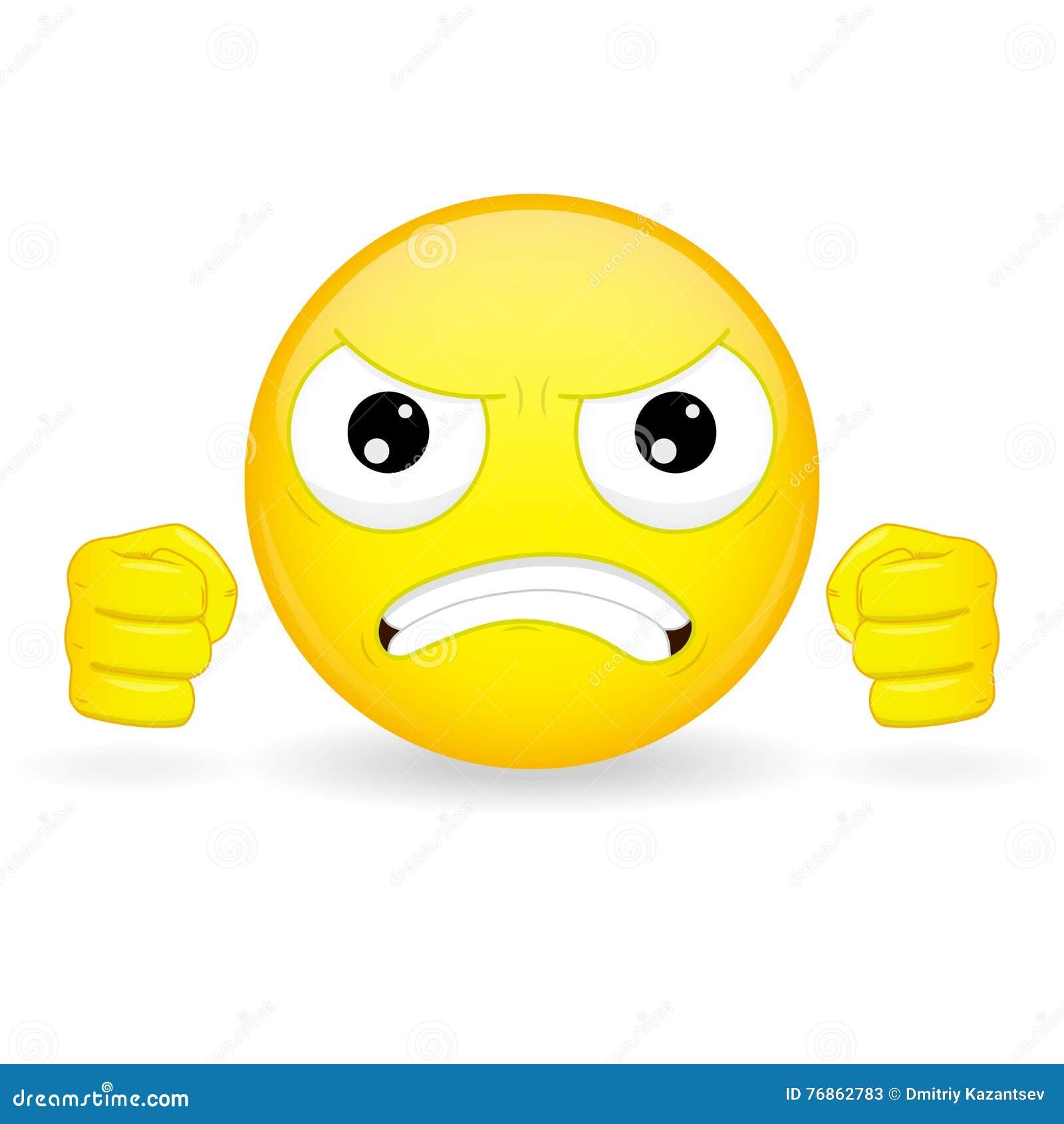 Emoticon gnieść pięści Gniewny emoticon Nikczemny emoticon Wściekły emoji Złości emocja Wektorowa ilustracyjna uśmiech ikona