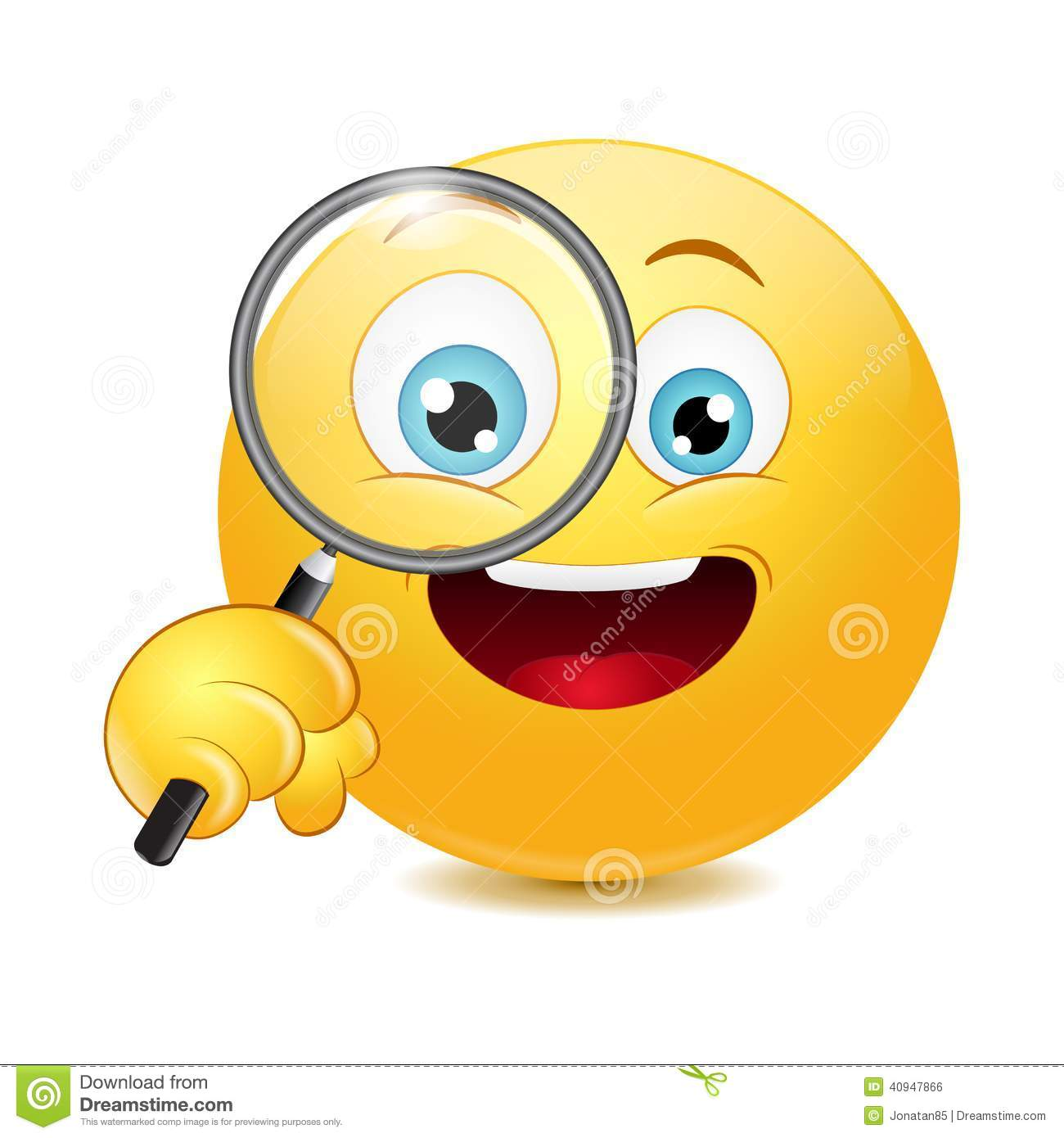 emoticon holding a magnifying glass stock illustration Happy Birthday Clip Art Business Clip Art