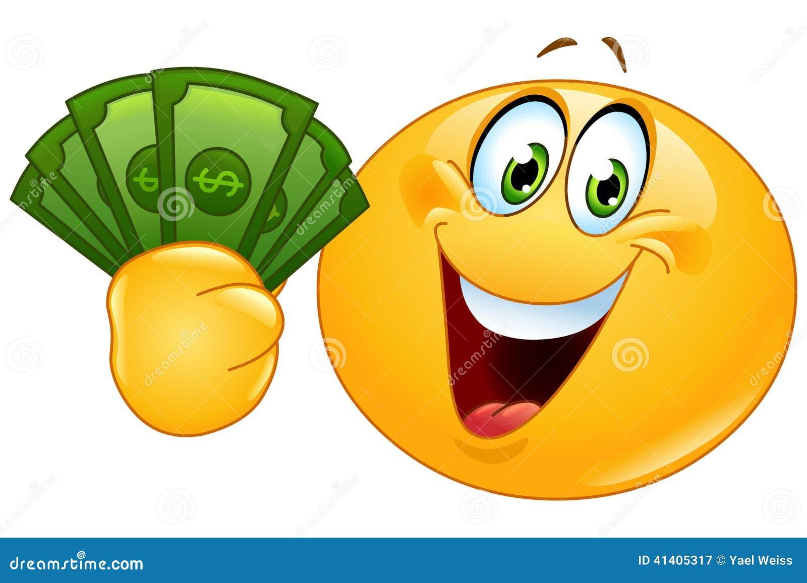 Emoticon met dollars