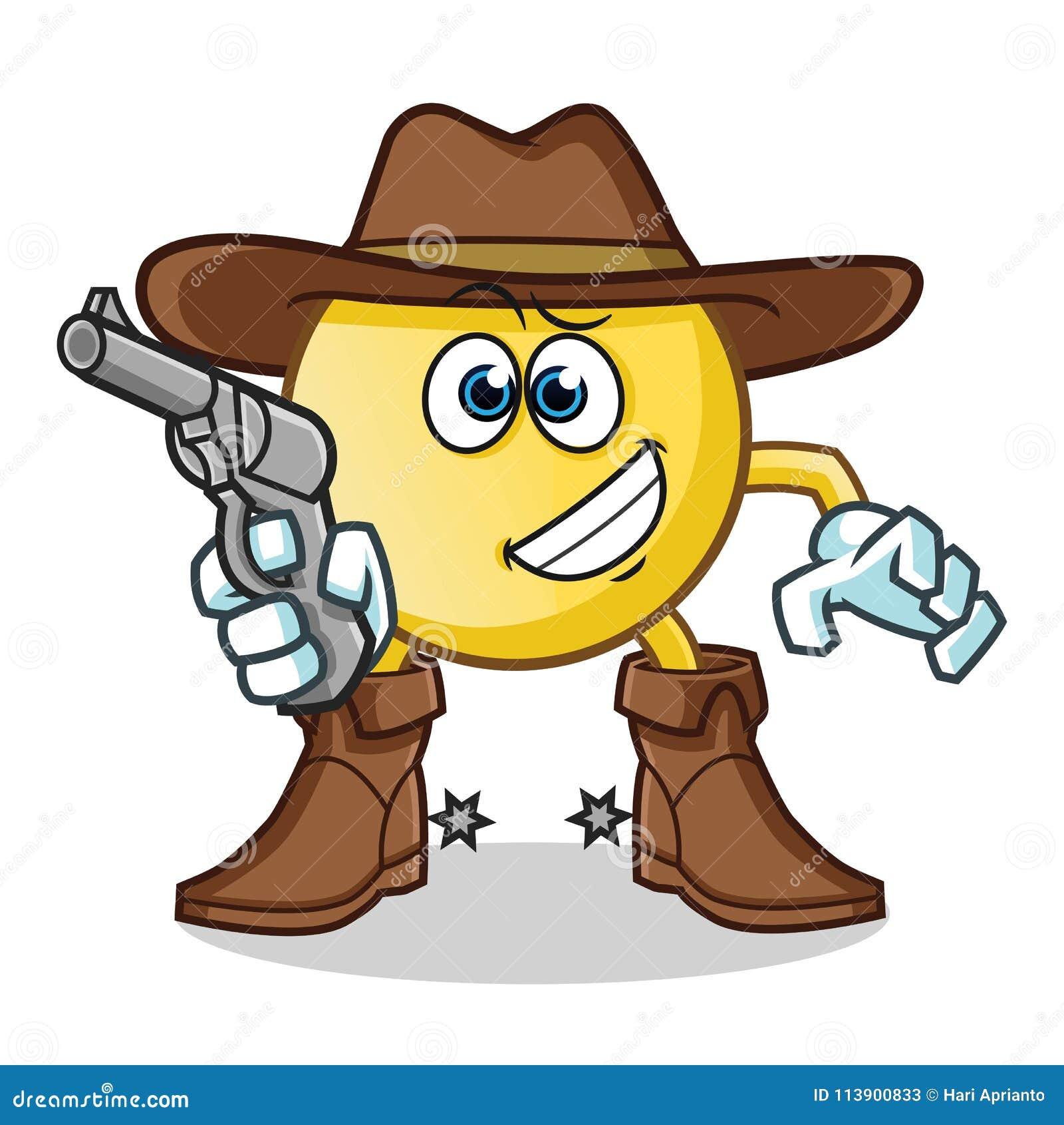 Emoticon mienia pistoletu kowbojskiej maskotki kreskówki wektorowa ilustracja