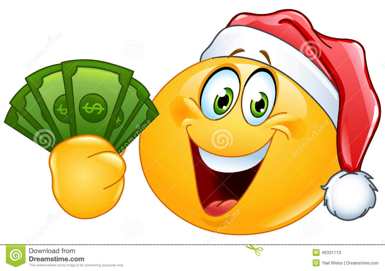 Emoticon With Santa Hat And Dollars Stock Vector