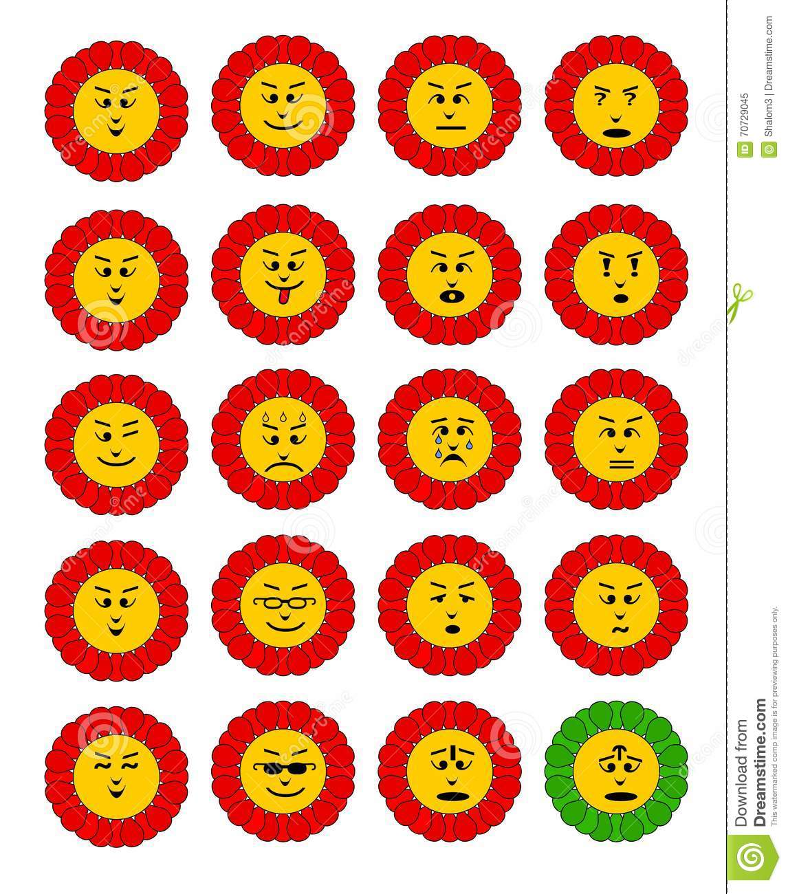 Emoticon Set Emoji Flowers Flower With Emoji Faces Flower