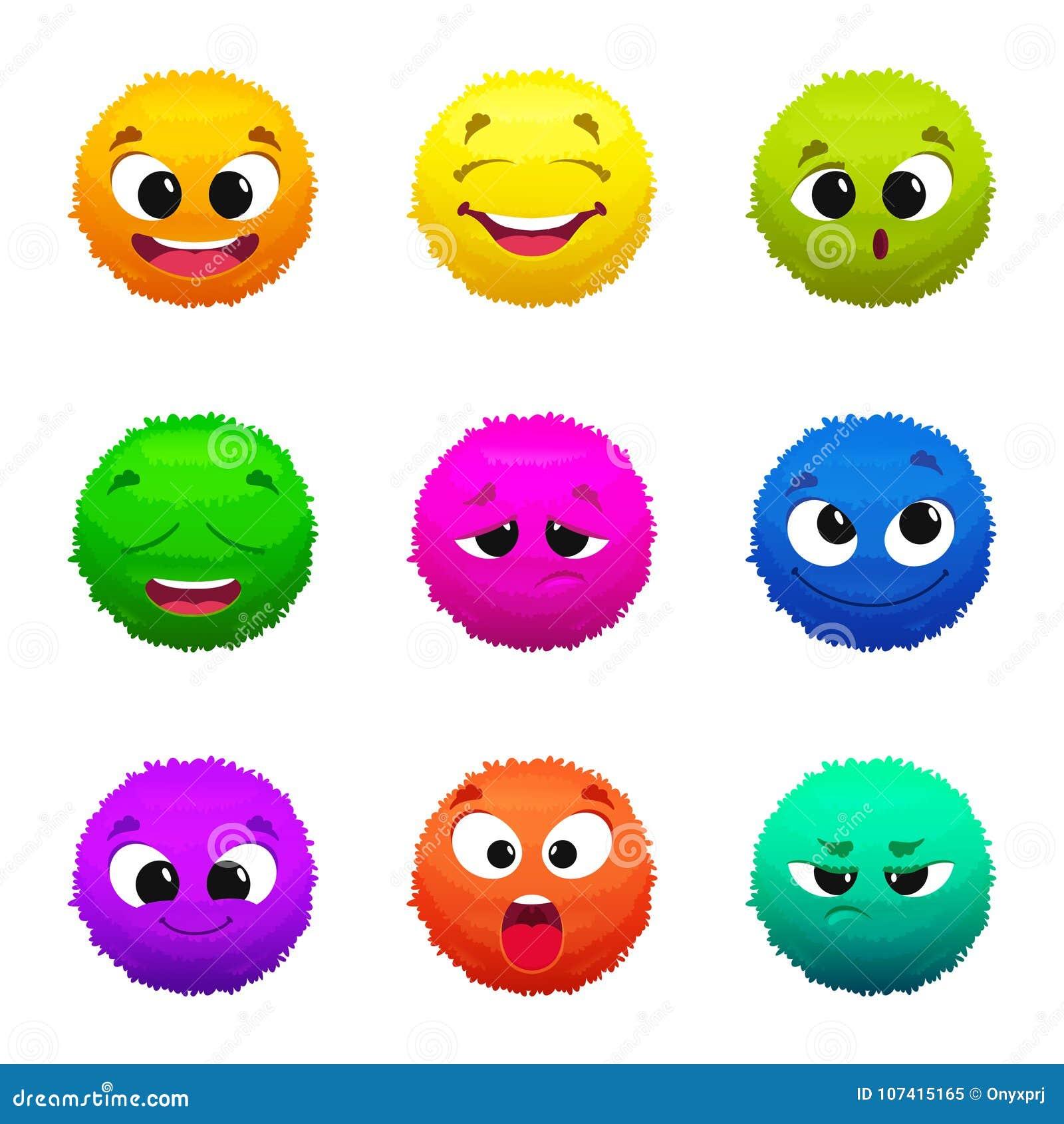 Emoticon Simili A Pelliccia Colorati Divertenti Personaggi Dei