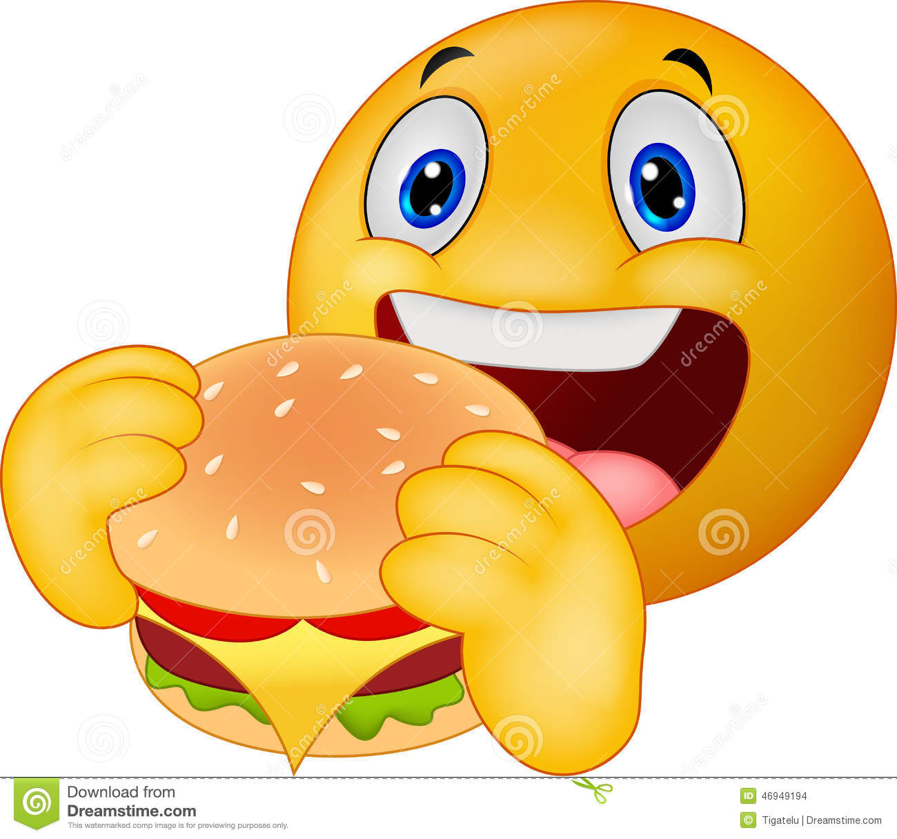 Emoticon Smiley Eating Hamburger Stock Vector - Image: 46949194