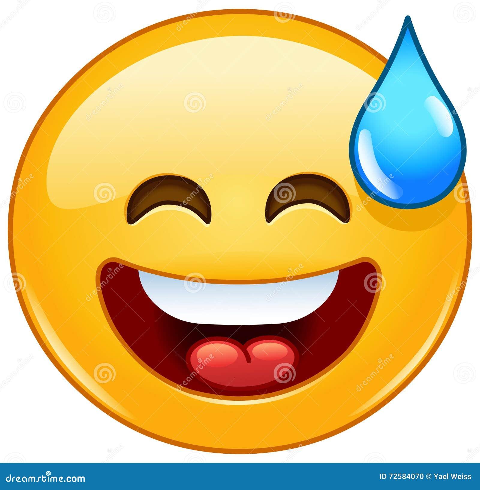 Emoticon Sonriente Con La Boca Abierta Y El Sudor Frío Ilustración