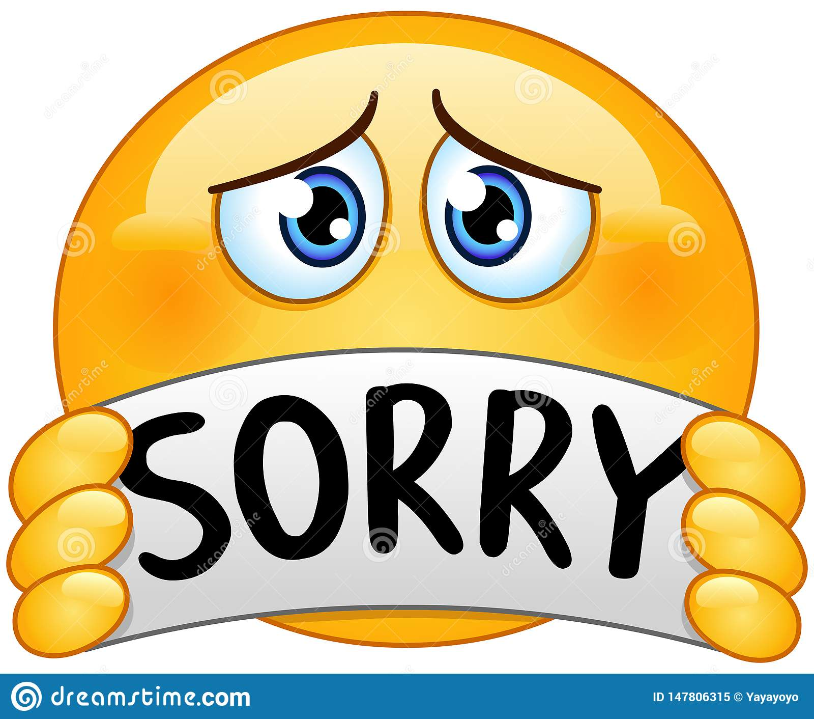 Emoticon with sorry sign