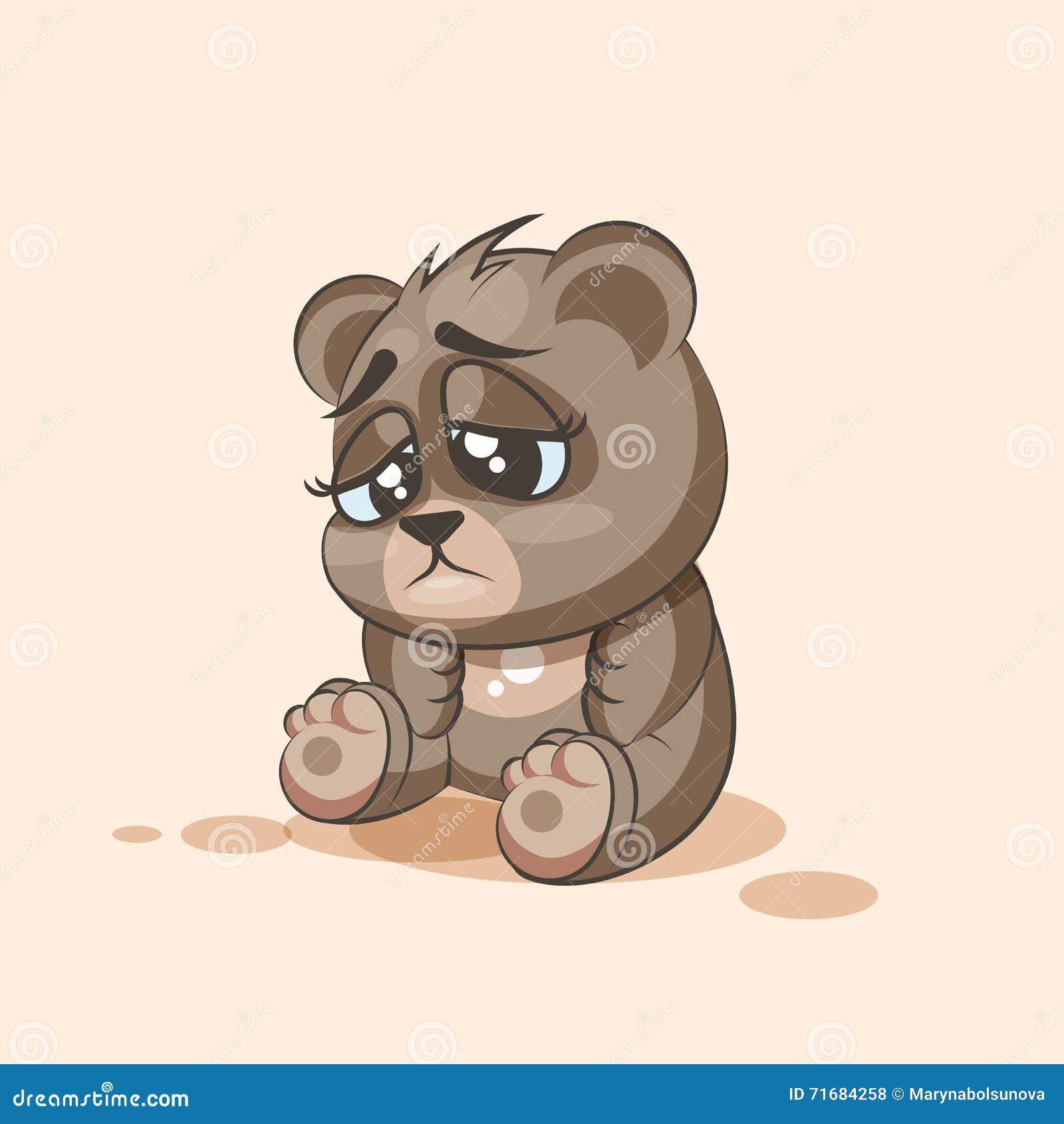Emoticon Triste E Frustrante Do Urso Dos Desenhos Animados
