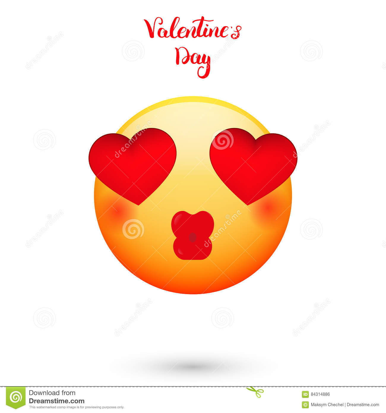 Emoticon For Valentines Day Emoji With Hearts Eyes Stock Vector