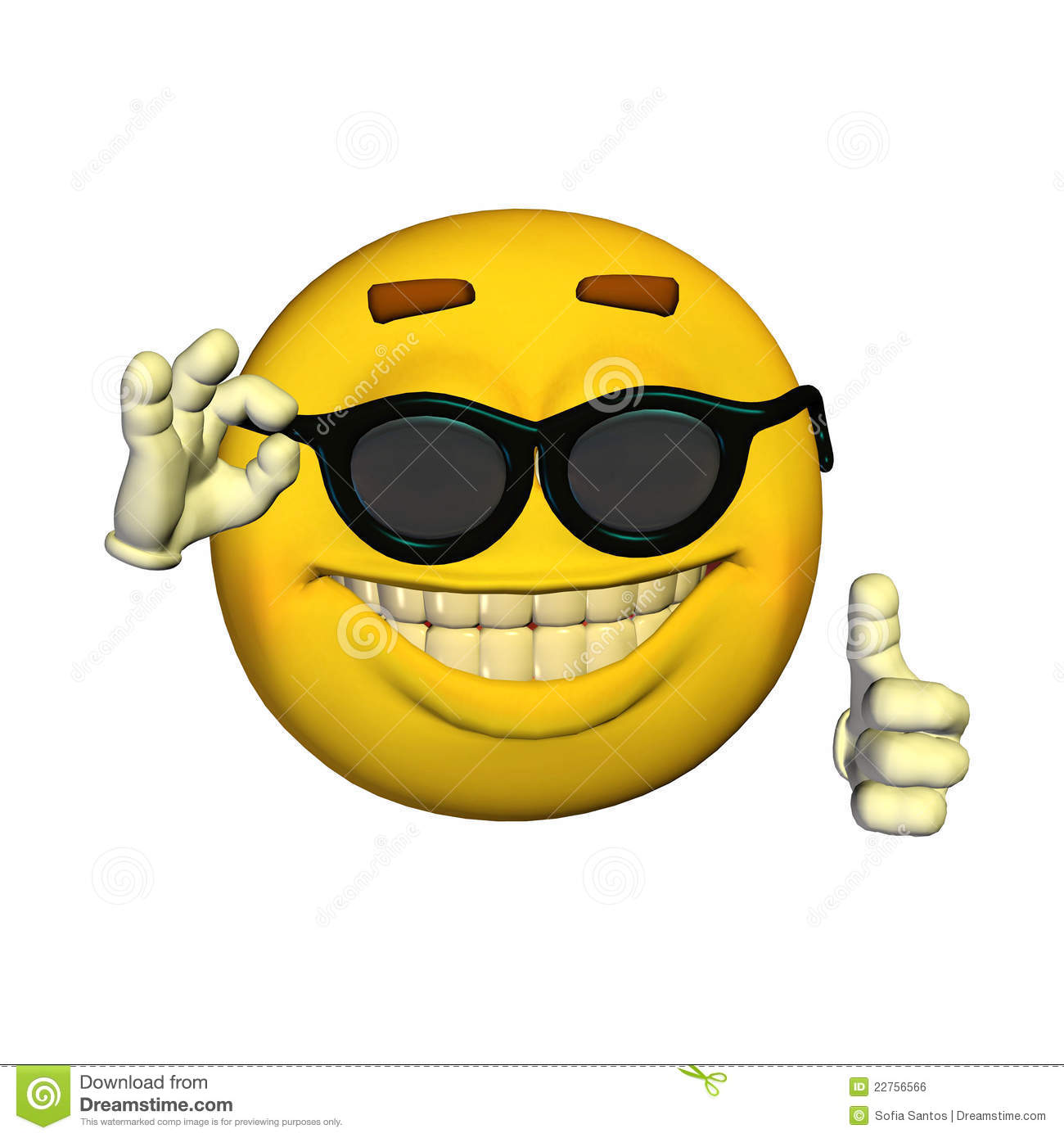 Cool Smiley Face Thumbs Up Emoticon - Zonnebril s...
