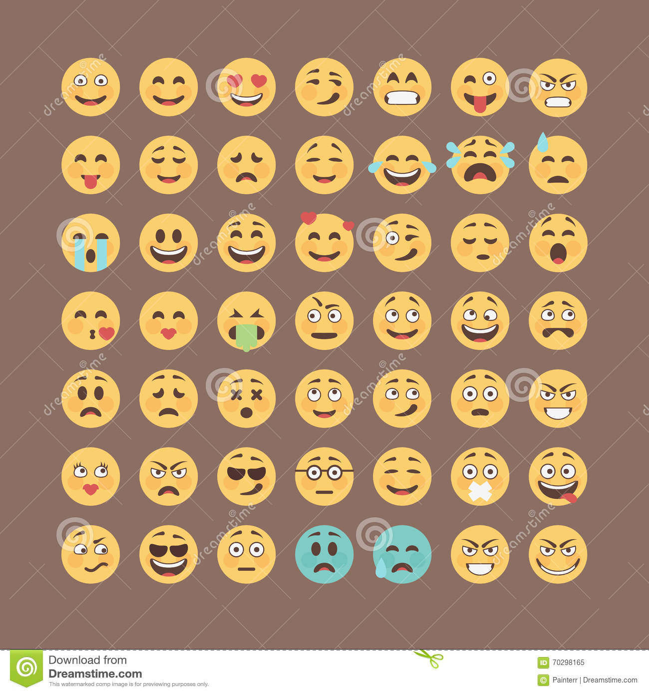 Emoticons collection. Flat emoji set. Cute smileys icon pack. Vector illucttration