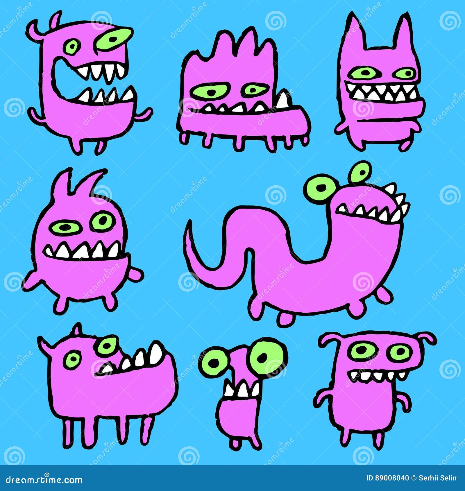 Emoticons cor-de-rosa dos monstro ajustados Ilustração do vetor