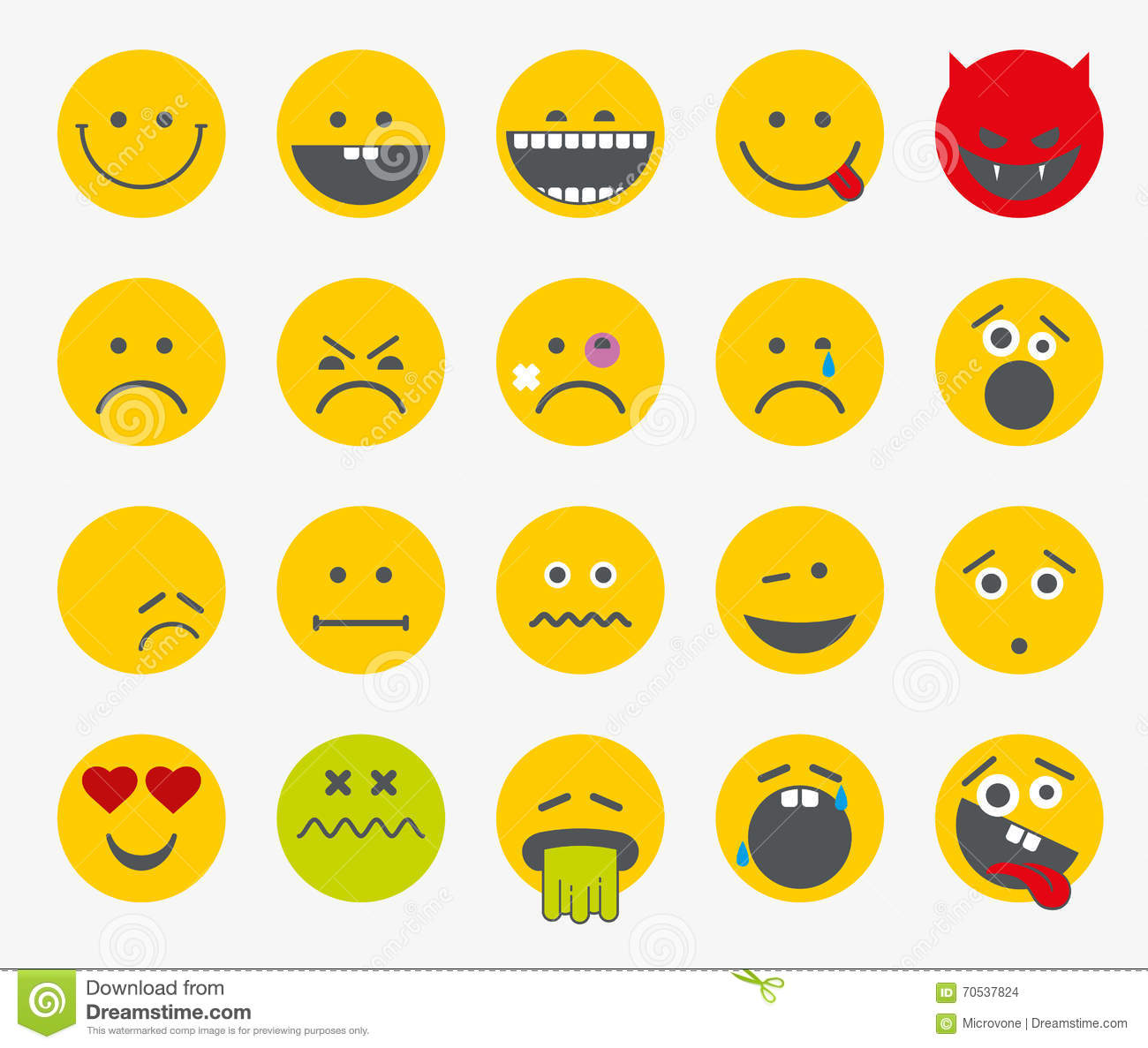 ... flat vector icons. Scream and sadness, bored and funny smiley set
