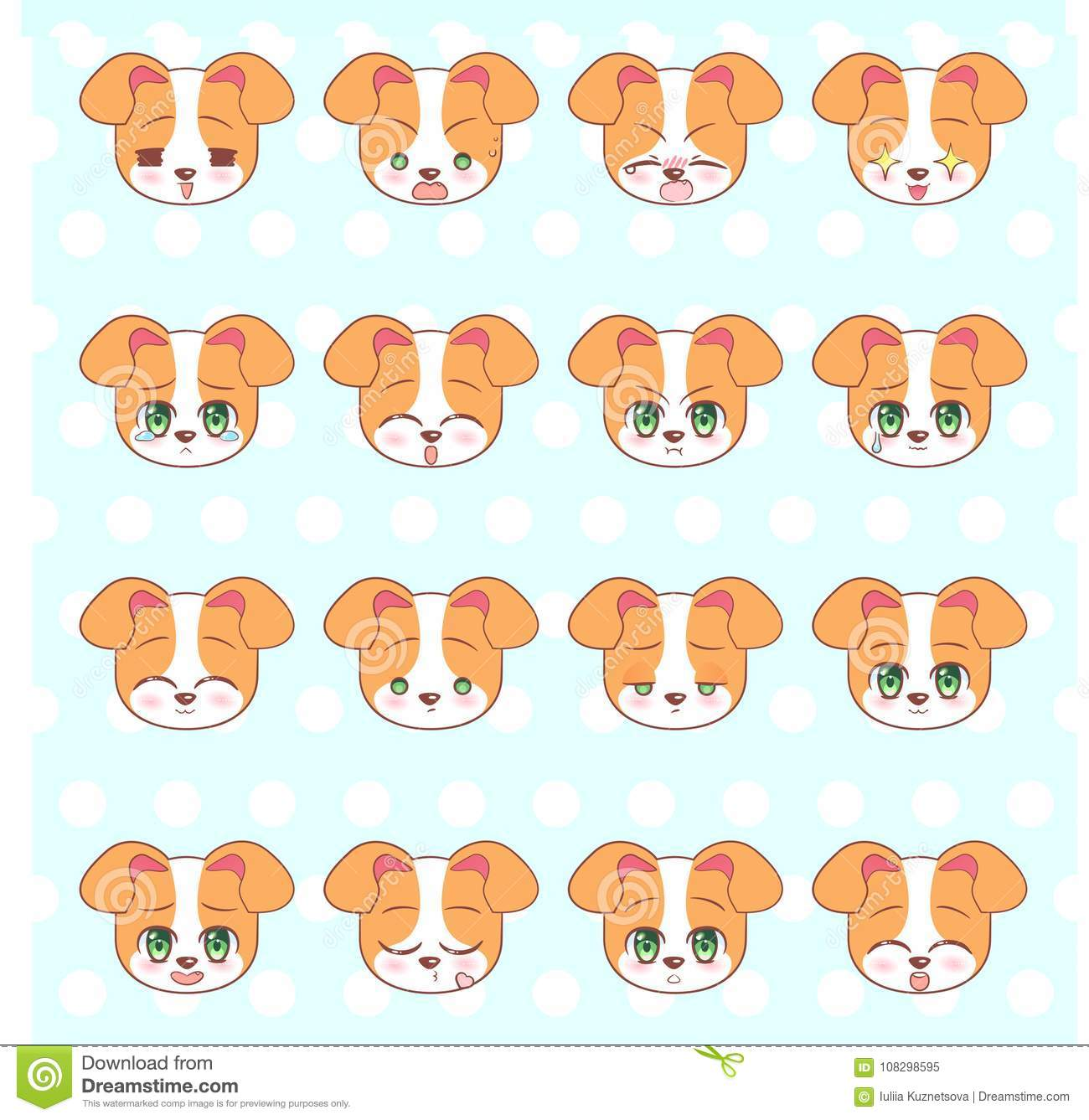 Emoticons, Emoji, Smiley Set, Colorful Sweet Kitty Little
