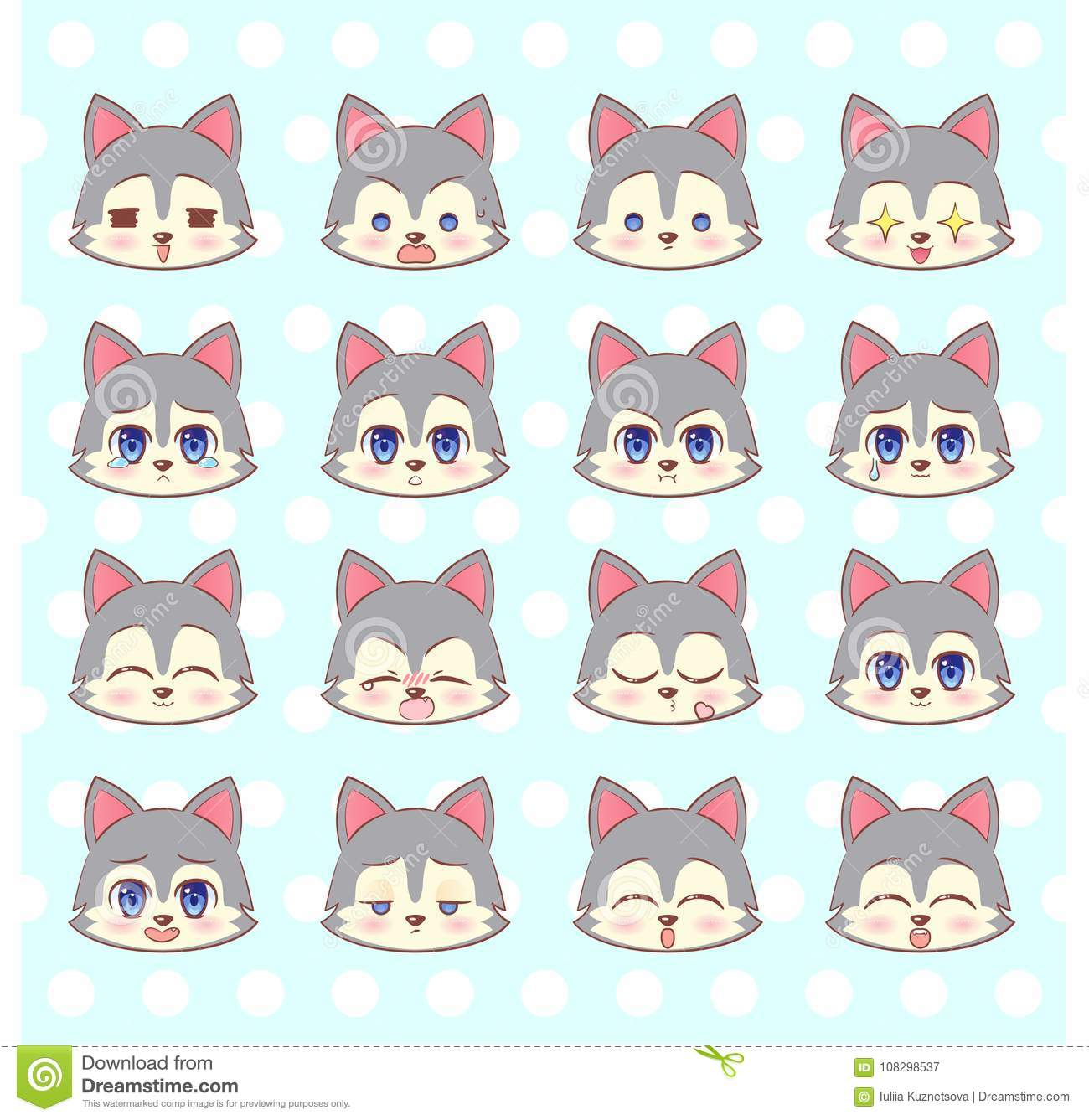 Emoticons Emoji Smiley Set Colorful Sweet Kitty Little