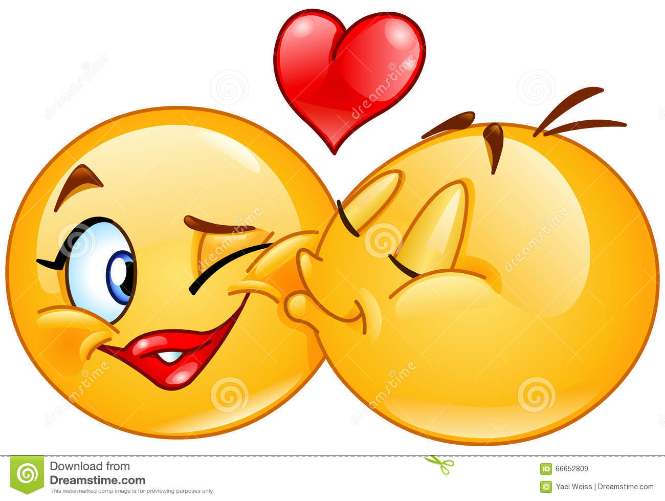 Kissing emoticons. Male emoticon kissing a female emoticon.