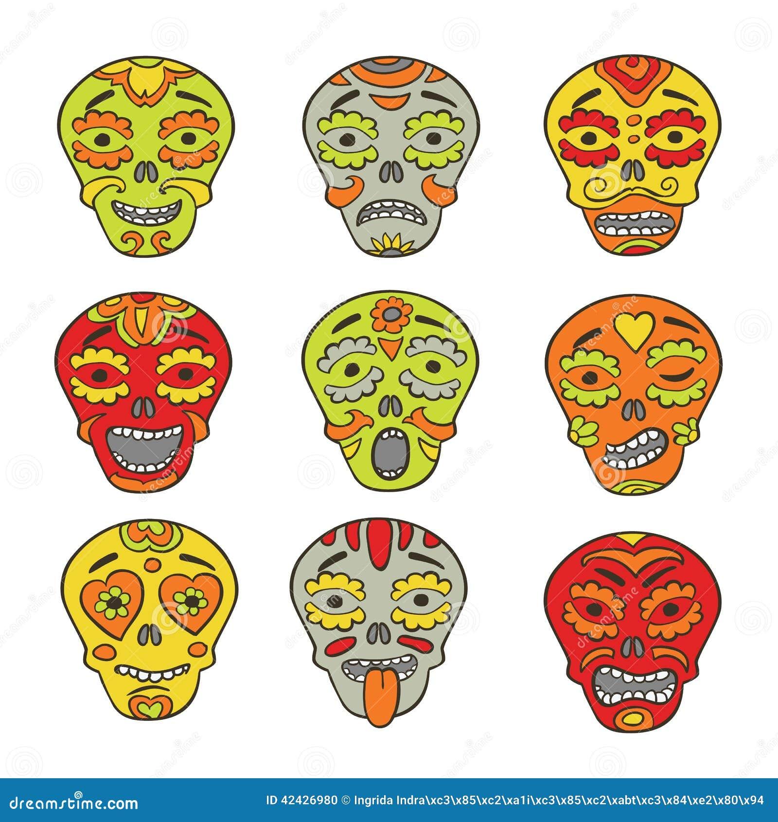 Emoticons mexicanos de los cráneos
