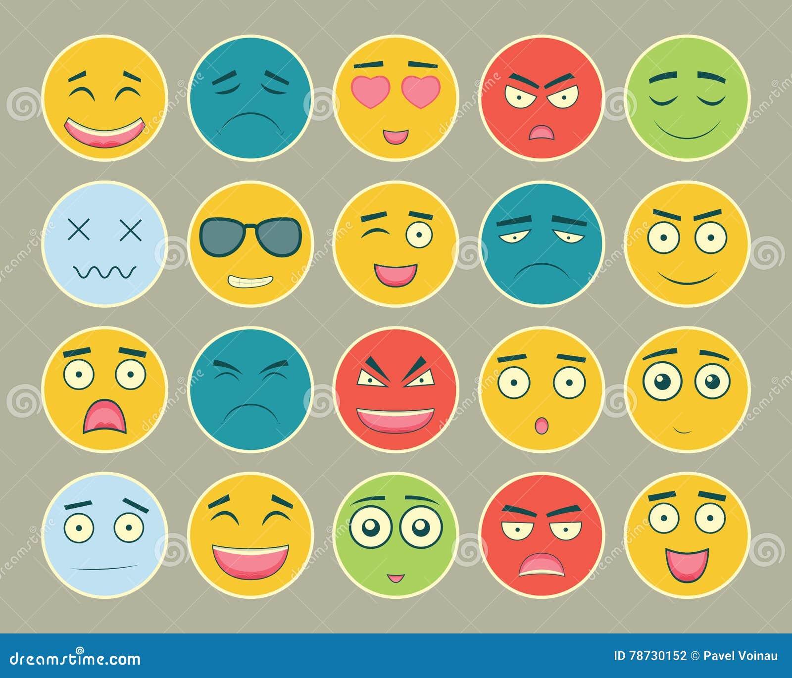 Emoticons sänker designuppsättningen Emoticon för webbplatsen, pratstund, sms Emoticonssymboler vektor