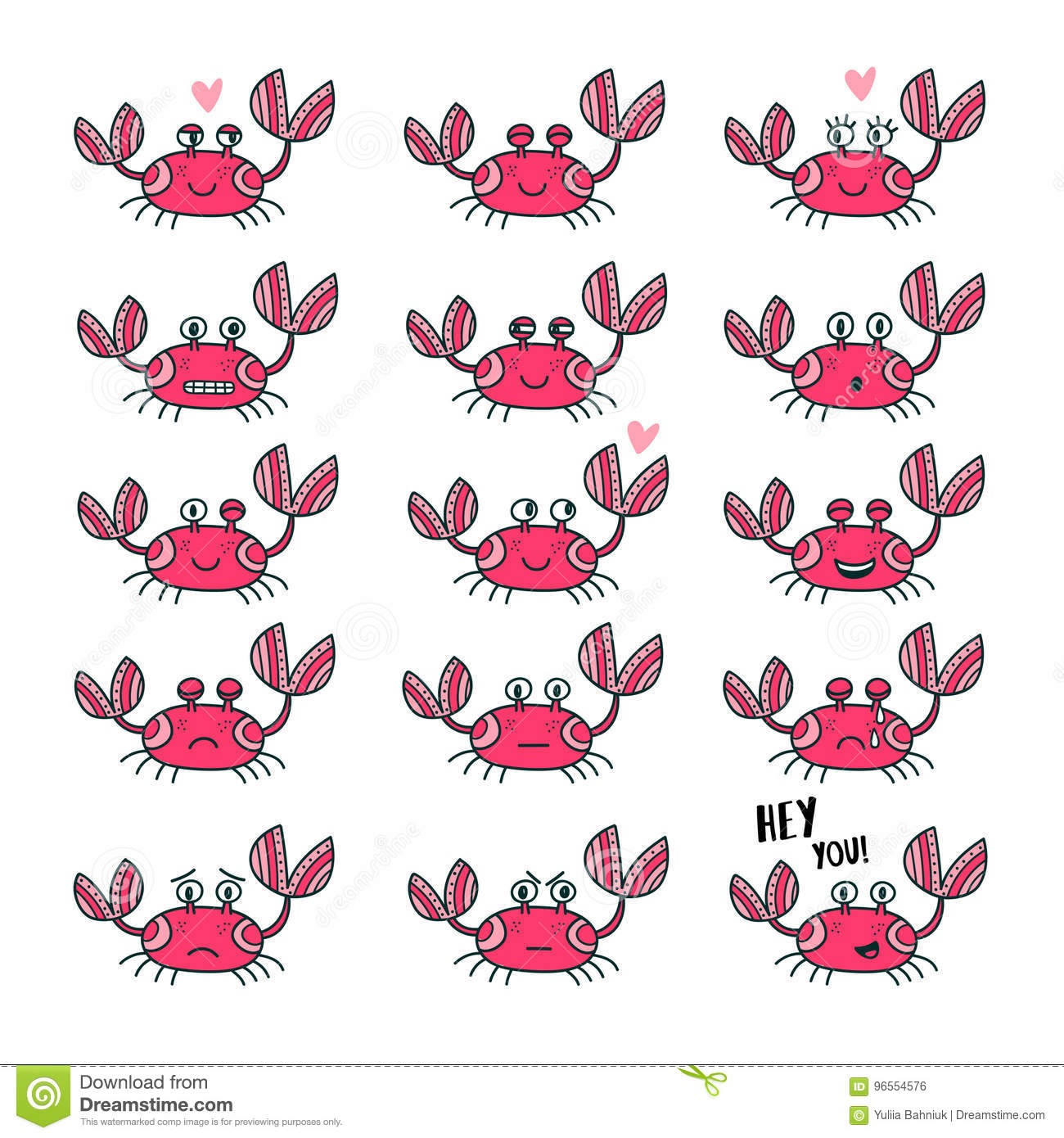 Emoticons Set Of Cute Crab In Cartoon Style Stock Vector