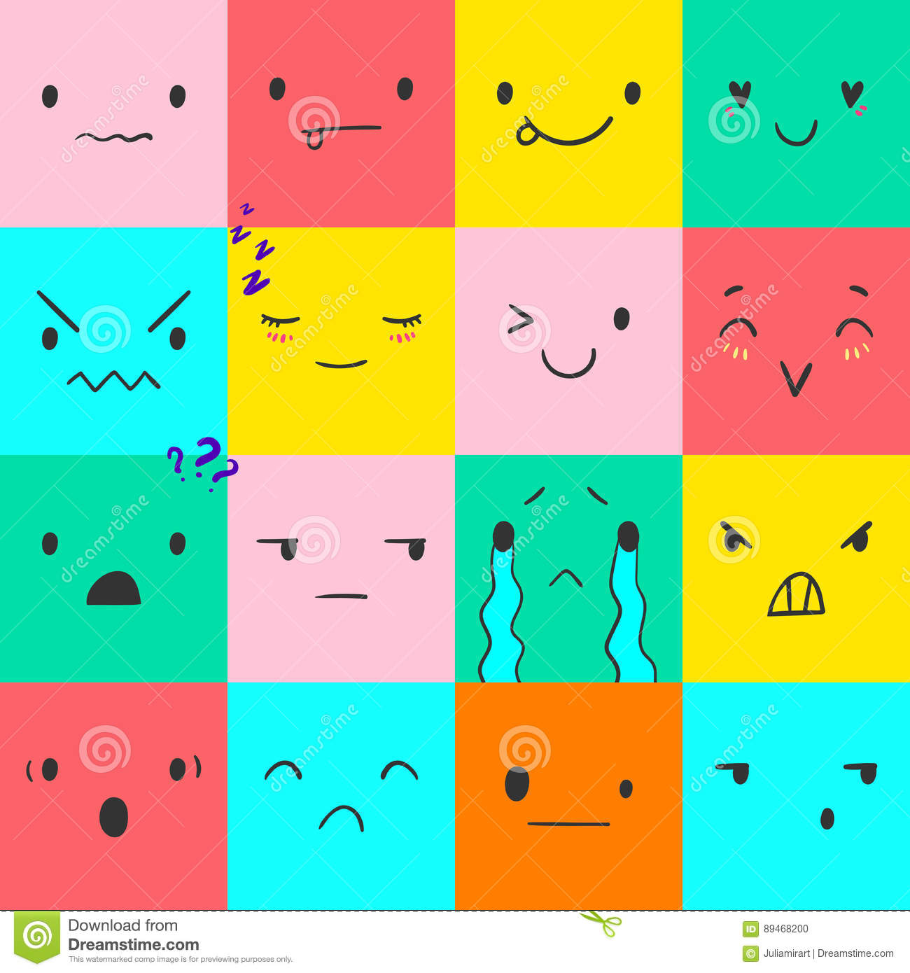 Square emoticons with different emotions, vector set of various hand-drawn  cute expressions, EPS 10