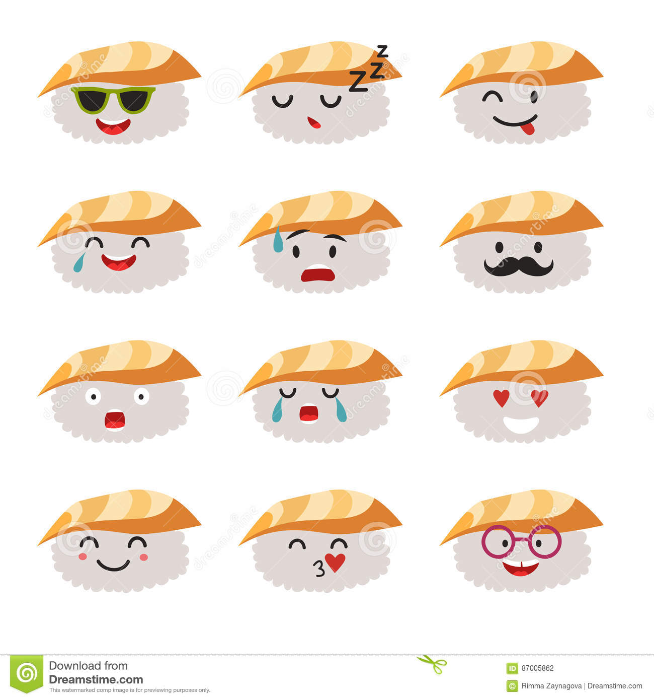 Emoticons sushi characters vector set