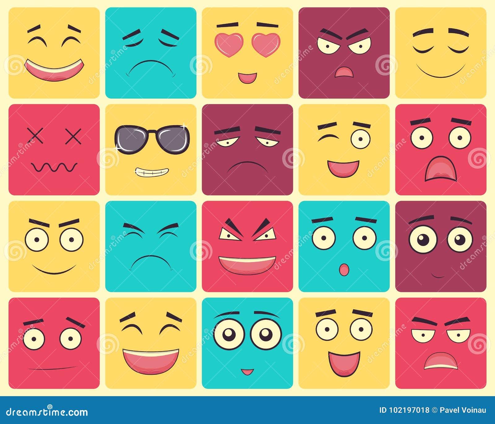 Emoticons ustawiają, emoji odizolowywający na białym tle