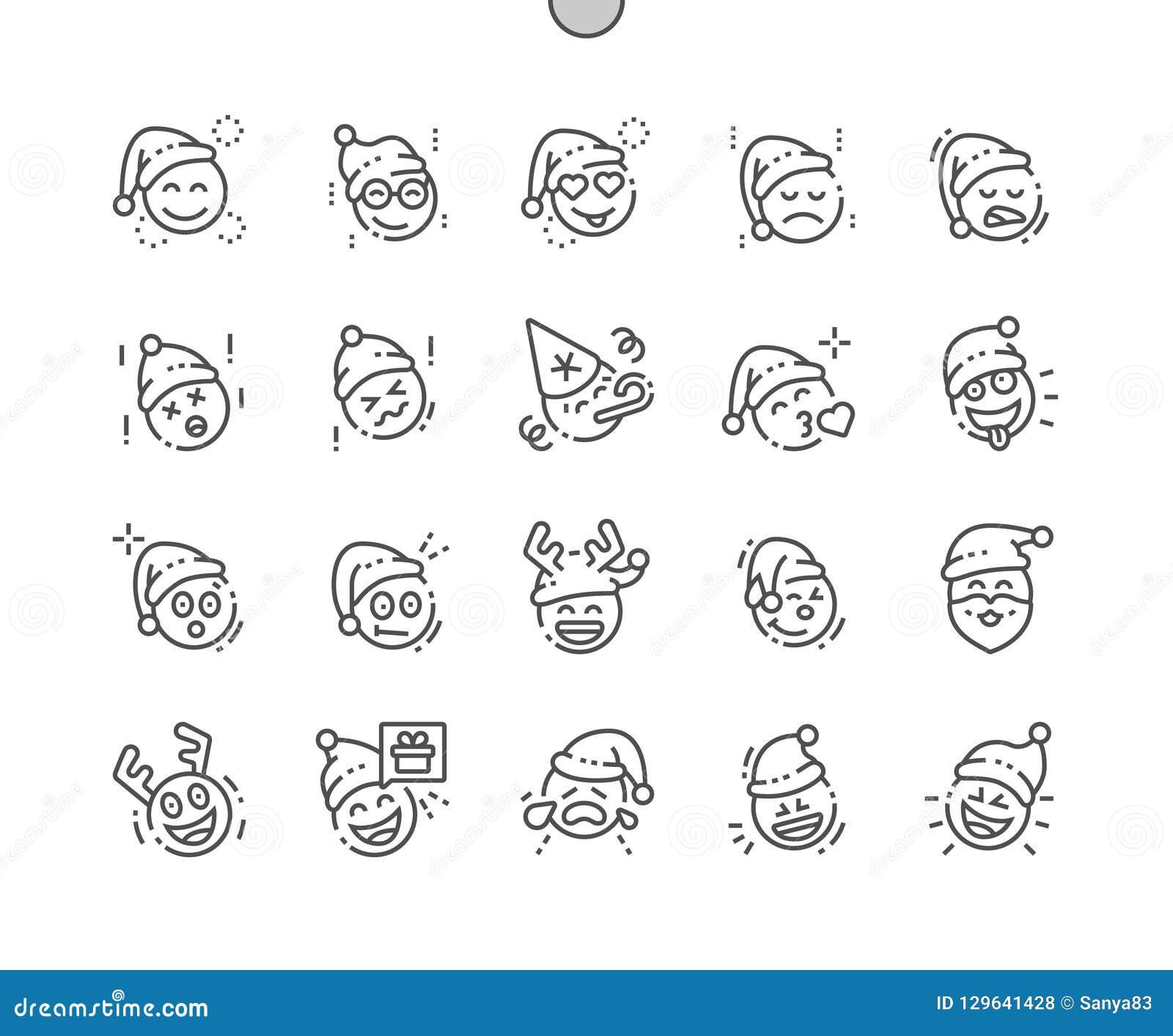 Emoticons z Bożenarodzeniowy temat Wykonującym ręcznie pikslem Doskonalić wektor ikon 30 Cienką Kreskową 2x siatkę dla sieci Apps