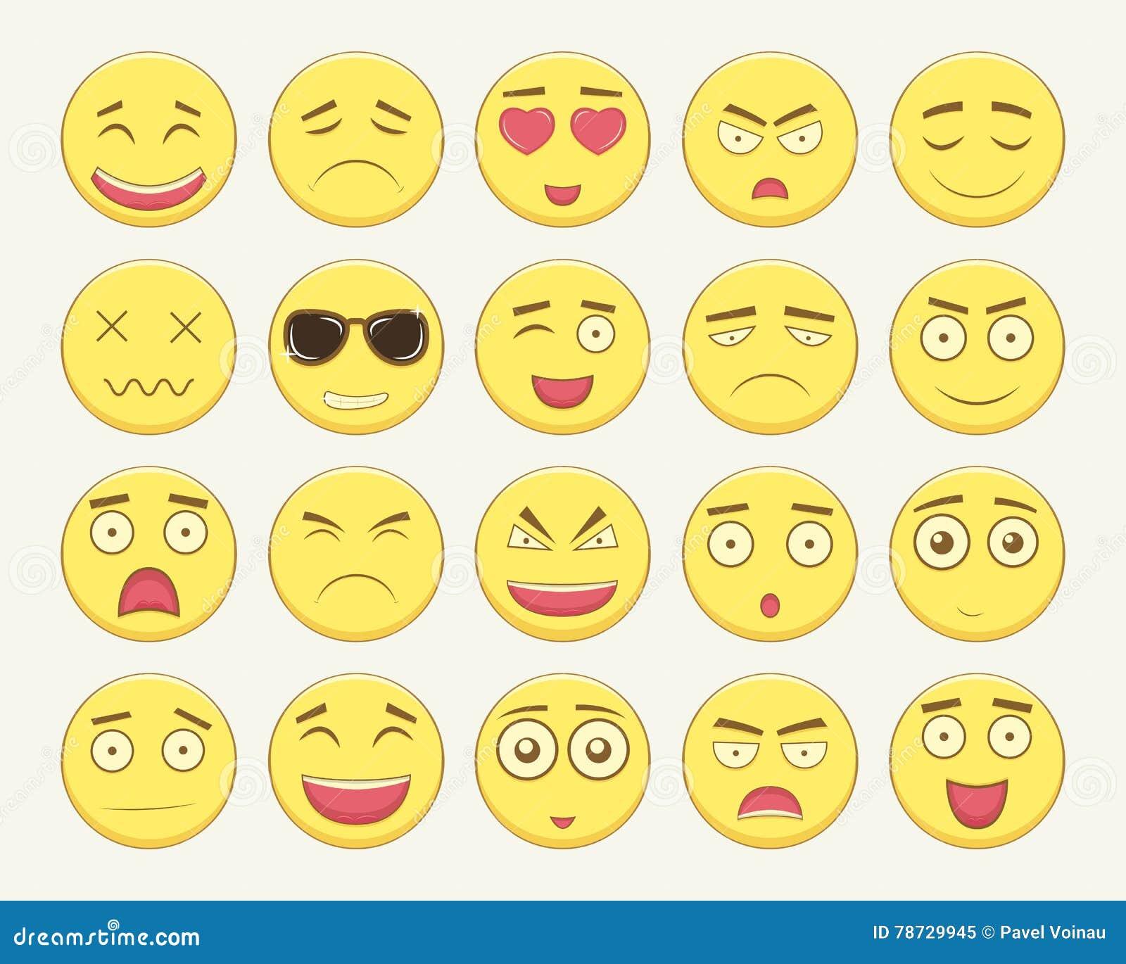 Emoticonuppsättning Emoticon för webbplatsen, pratstund, sms Modern plan design vektor