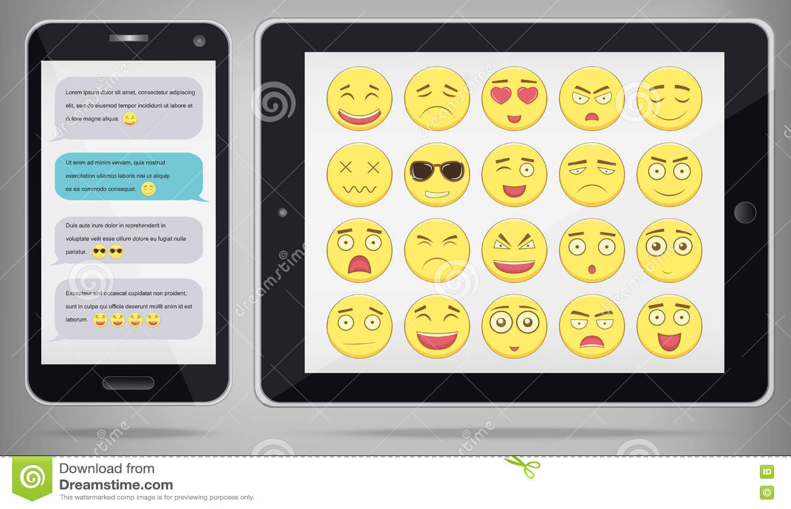 Emoticonuppsättning med PC för realistisk telefon och minnestavla Emoticon för webbplatsen, pratstund, sms Modern plan design vek
