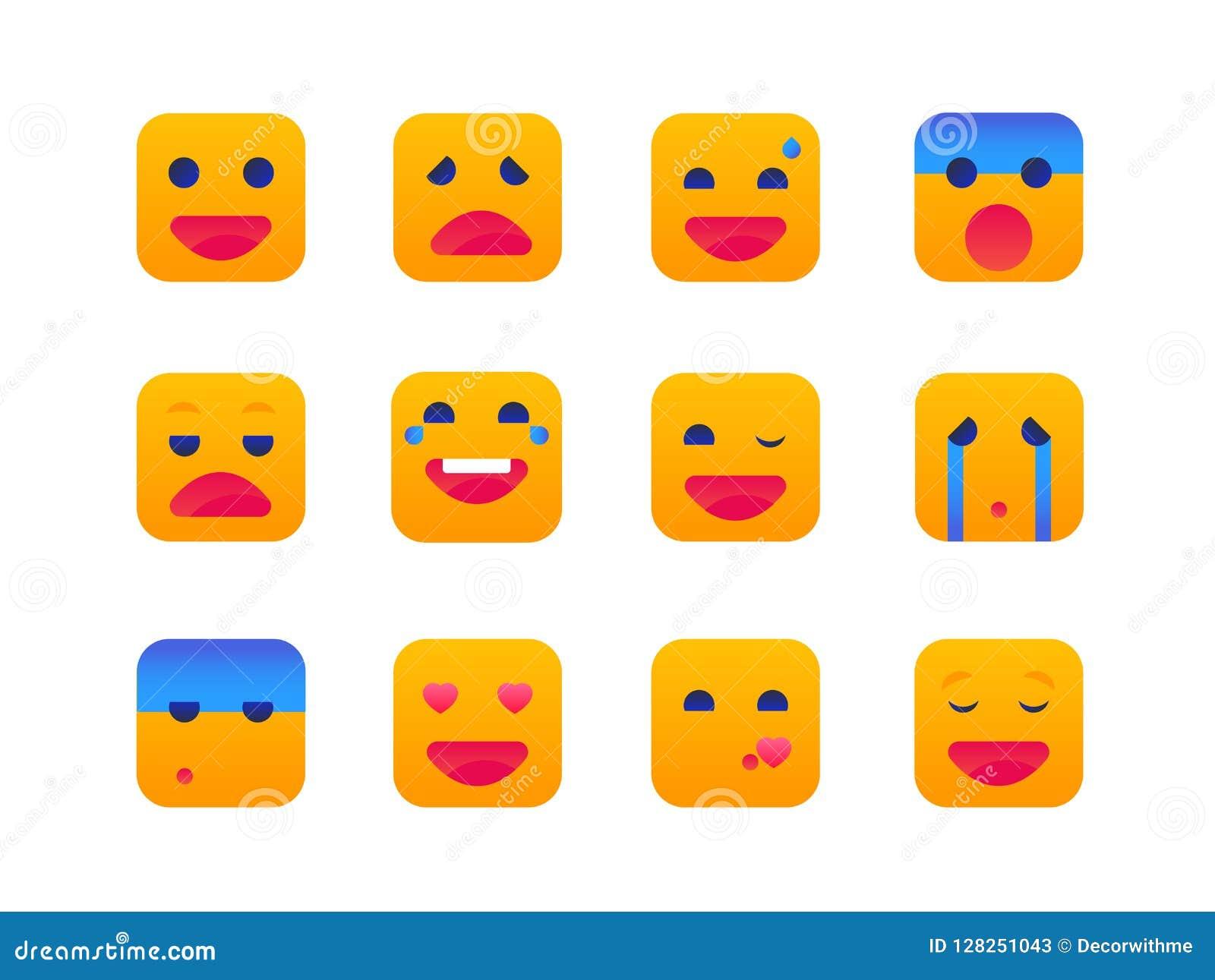 Emoties - reeks vlakke pictogrammen van de ontwerpstijl