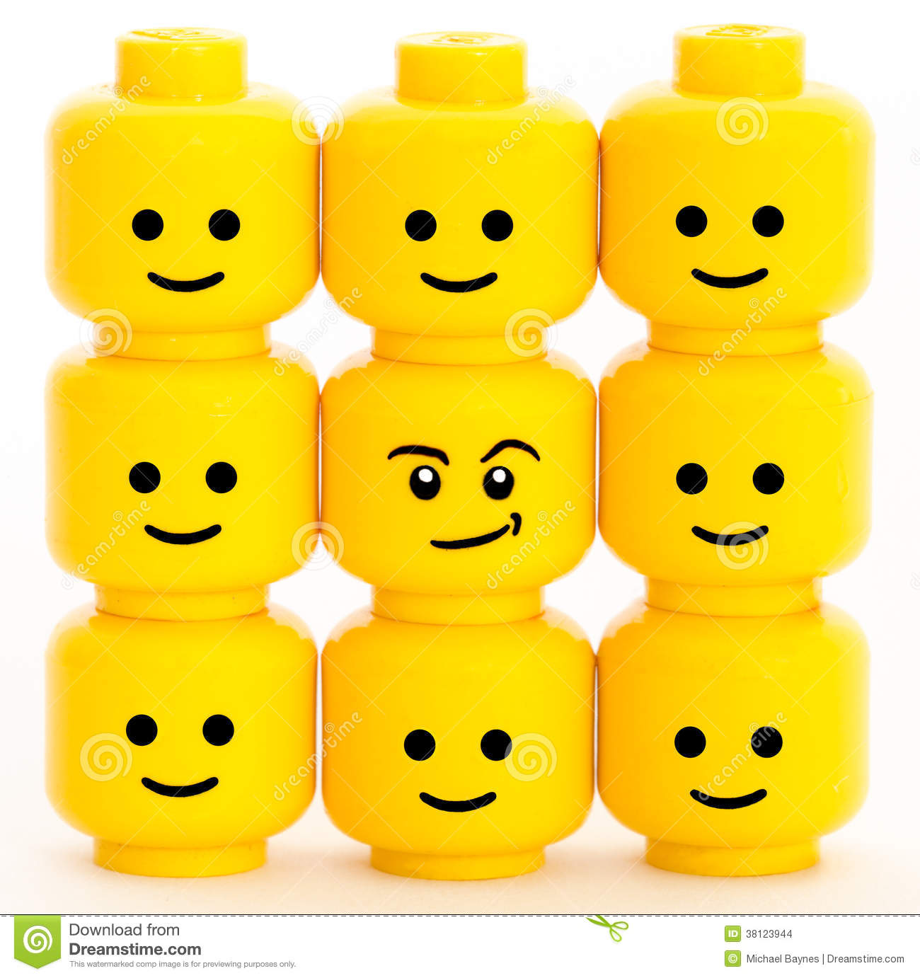 Lego men heads with different emotions.