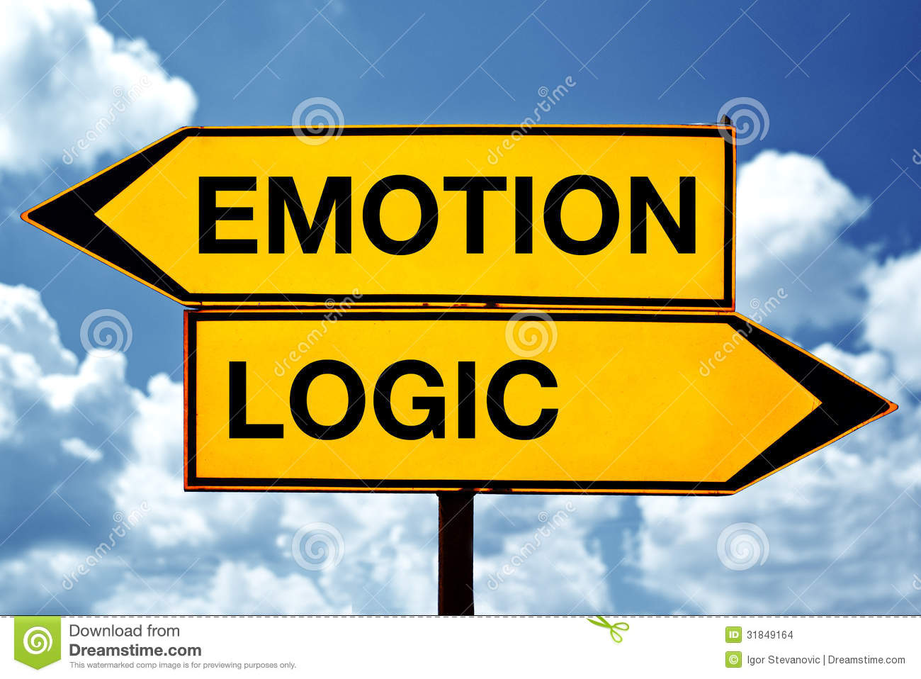 Emotion or logic, opposite signs. Two opposite signs against blue sky ...